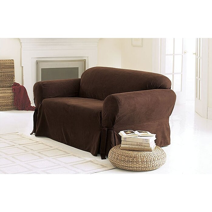 sure fit soft suede loveseat slipcover reviews. Black Bedroom Furniture Sets. Home Design Ideas
