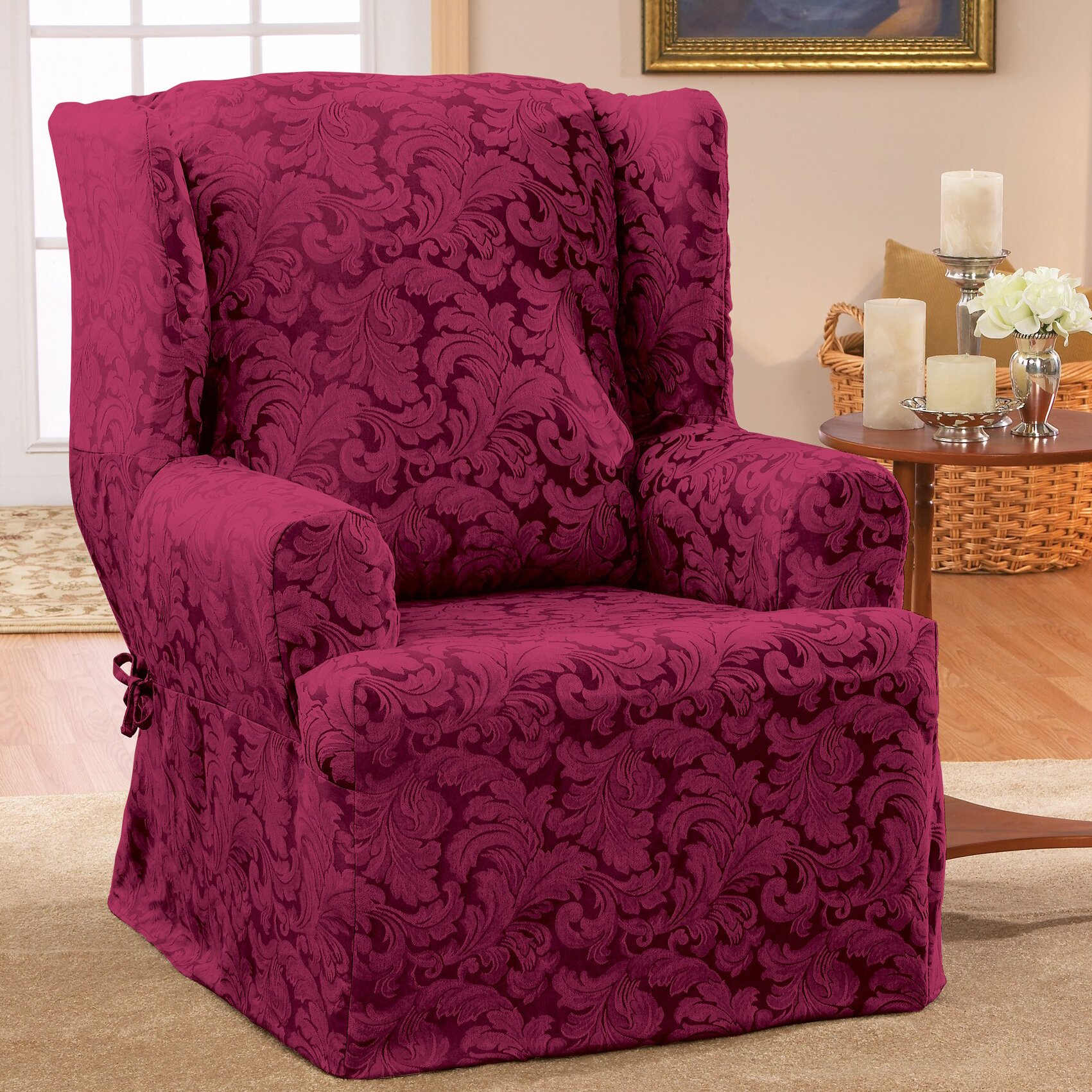 Slipcovers Living Room Chairs Sure Fit Scroll Classic Wing Chair T Cushion Skirted Slipcover