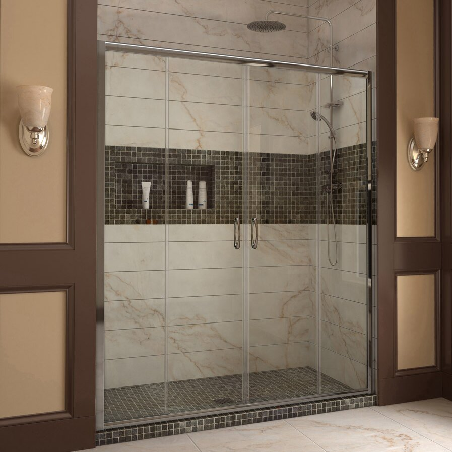 Dreamline visions 60 x 72 double sliding frameless for Double sliding doors