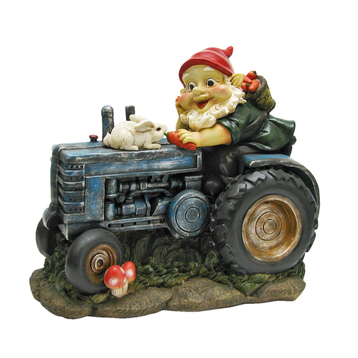 Design Toscano Bunny on Board the Tractor Garden Gnome Statue
