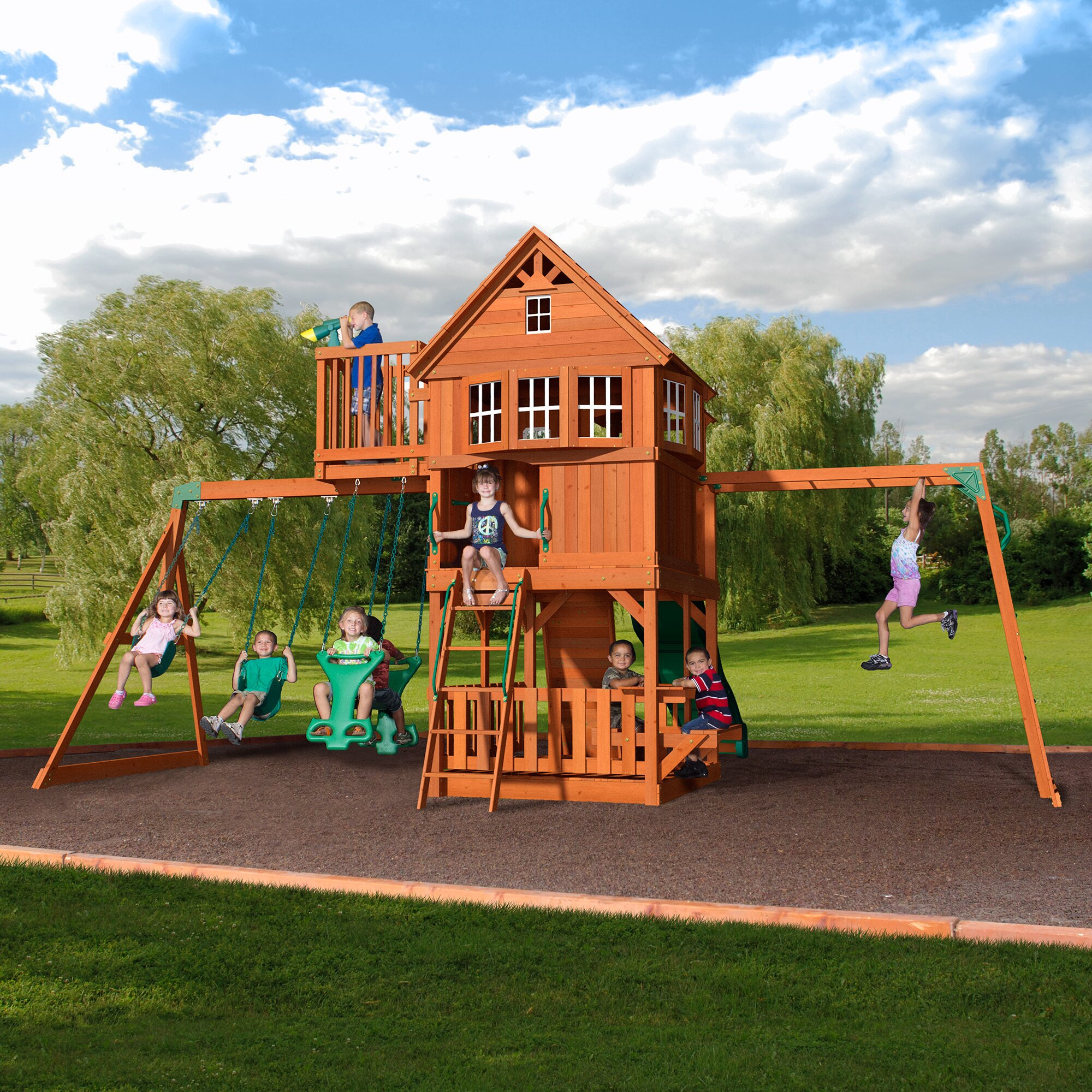 Backyard Swings: Backyard Discovery Skyfort All Cedar Swing Set & Reviews