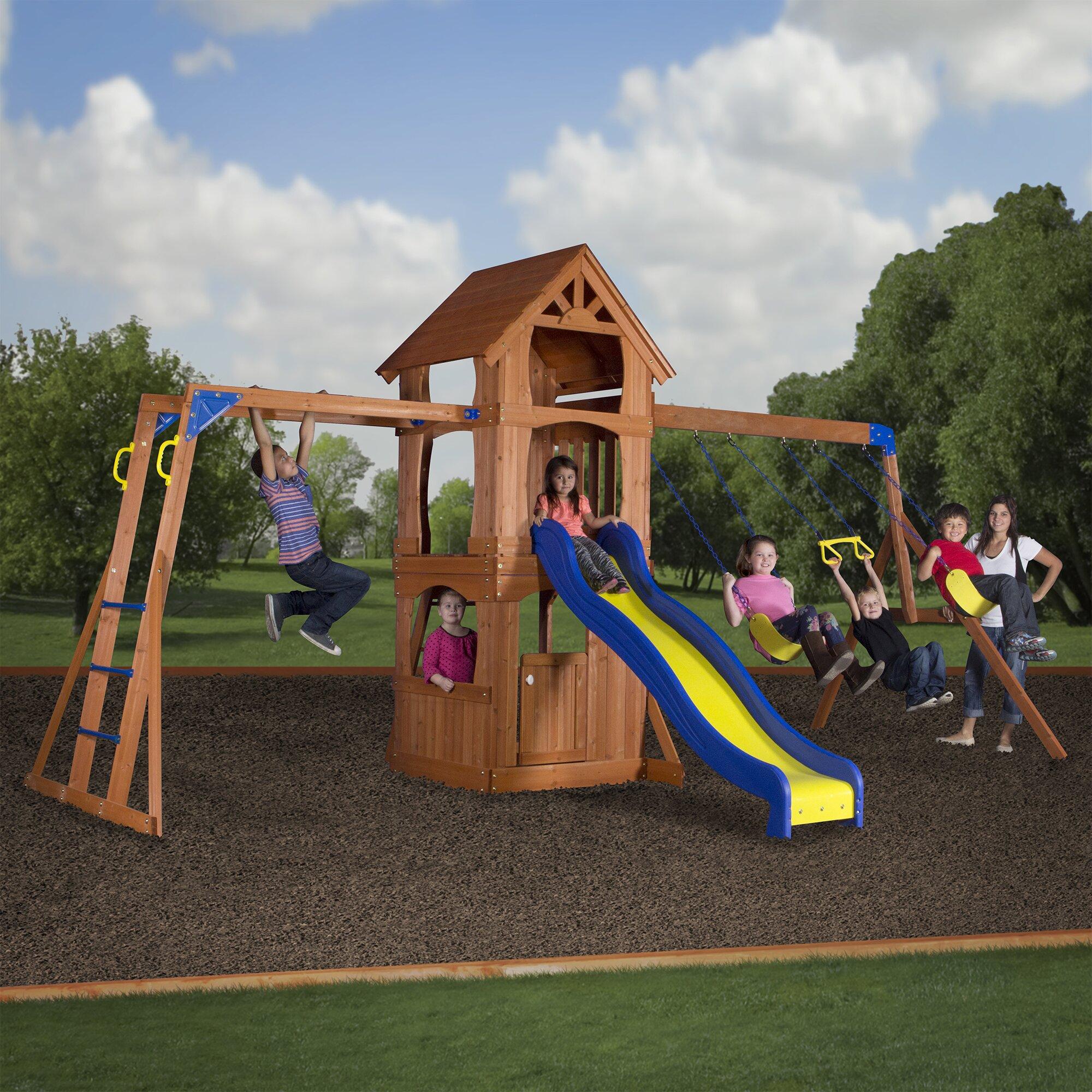 backyard discovery parkway all cedar swing set reviews wayfair