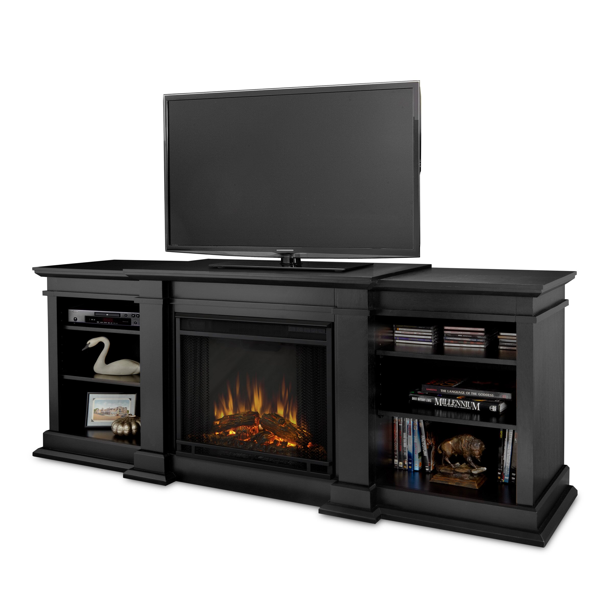 real flame fresno tv stand with electric fireplace reviews wayfair. Black Bedroom Furniture Sets. Home Design Ideas