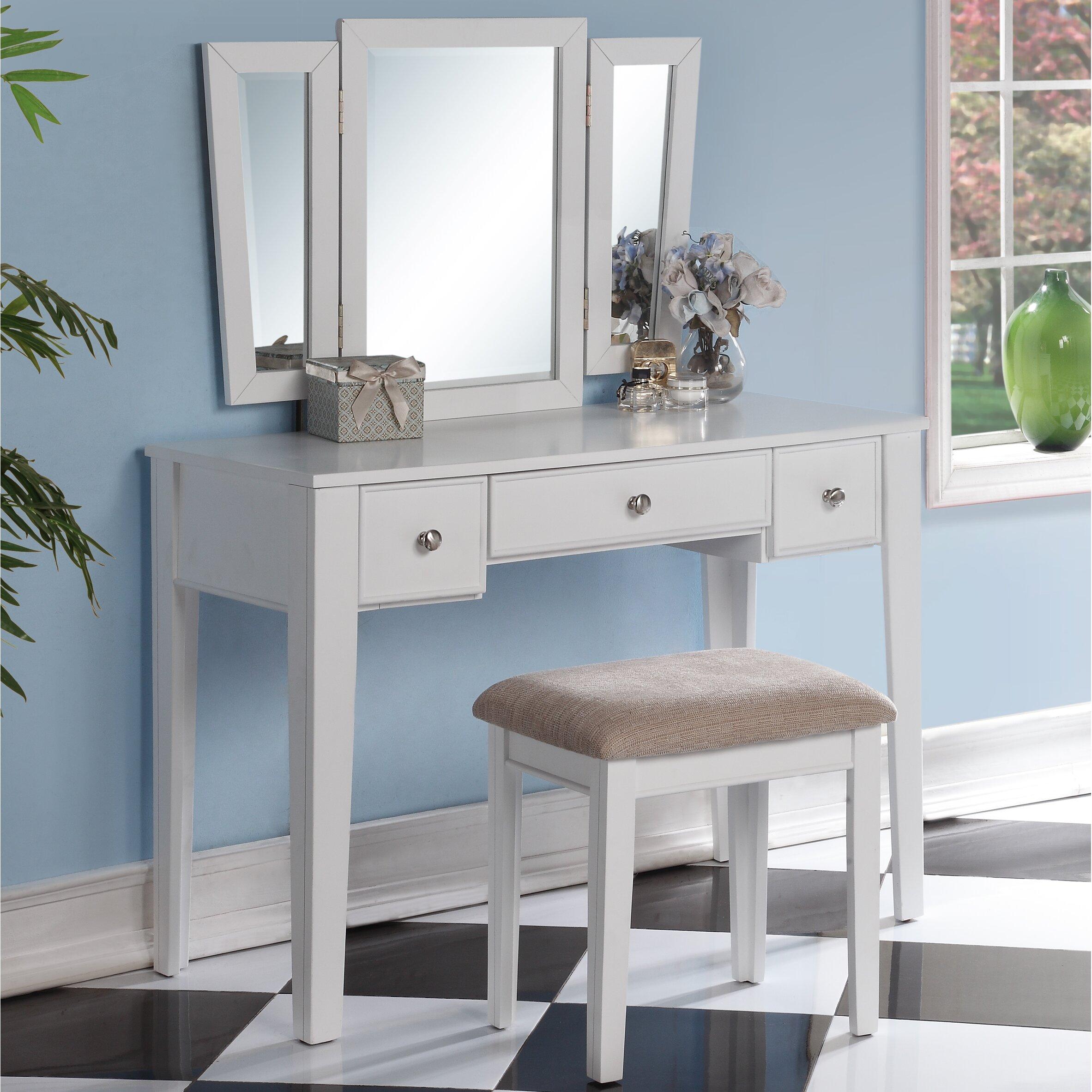 Poundex Bobkona Adar Vanity Set with Mirror. Poundex Bobkona Adar Vanity Set with Mirror   Reviews   Wayfair
