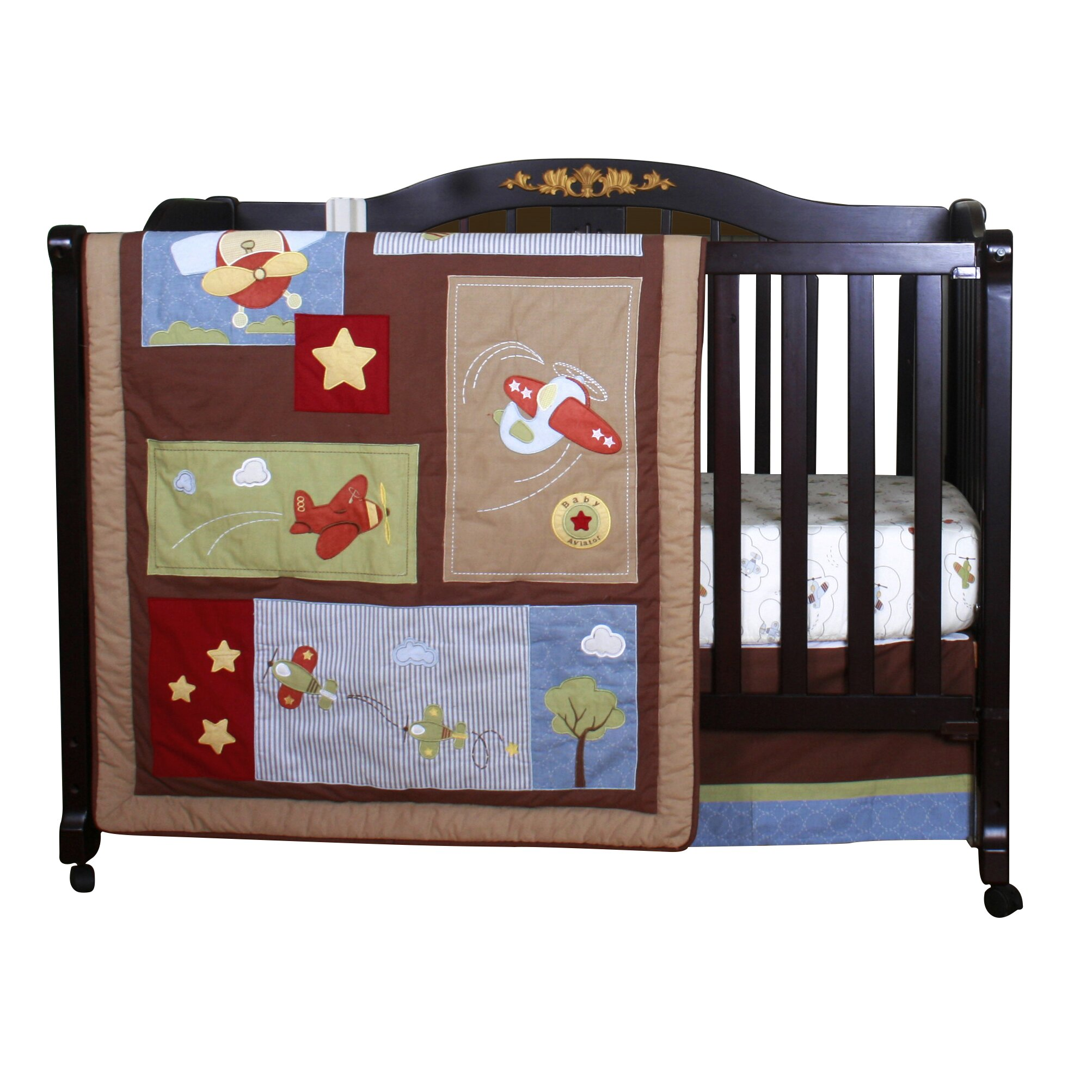 Baby bed for airplane - Geenny Boutique Airplane Aviator 12 Piece Crib Bedding Set