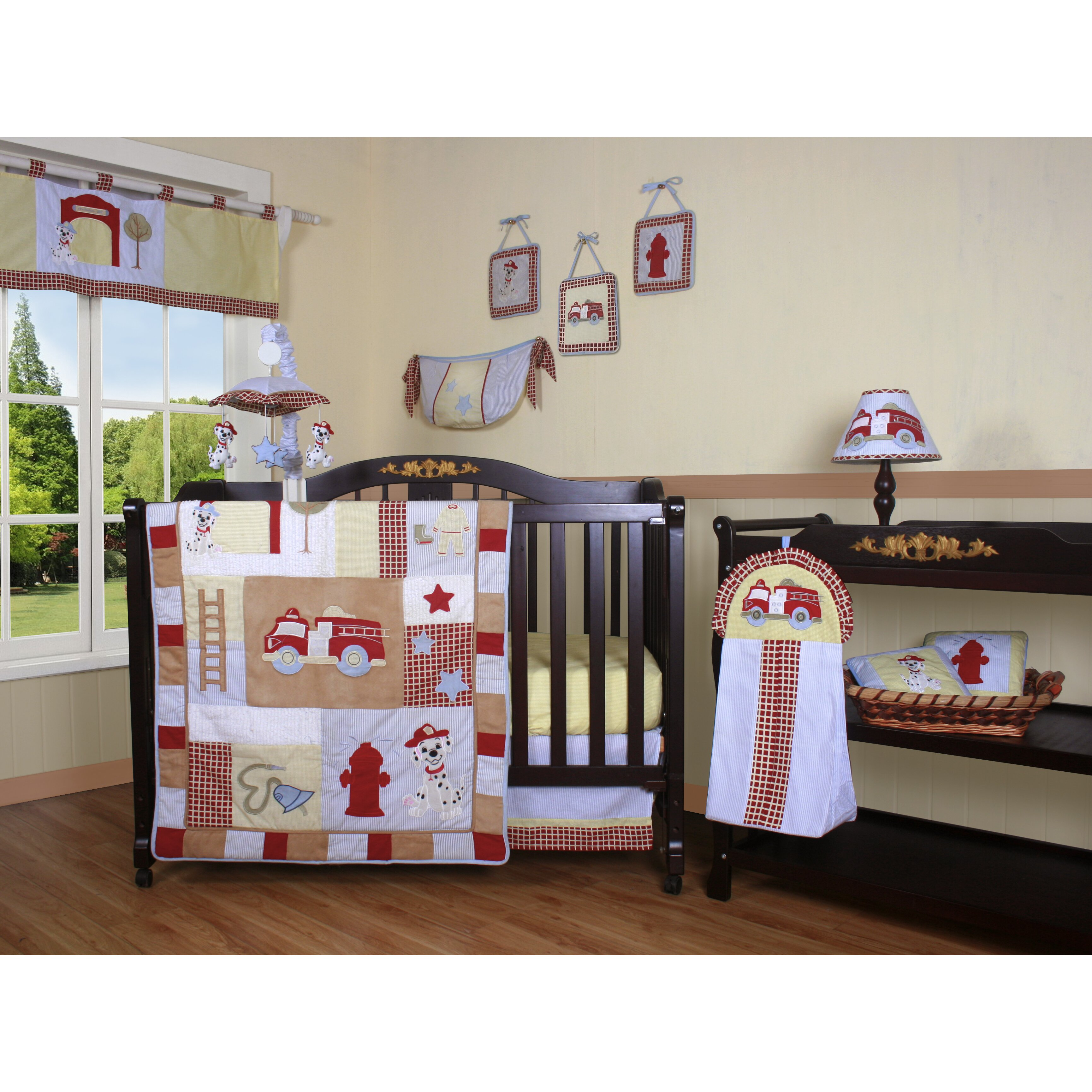 Sweet jojo designs construction zone lamp shade free shipping on - Geenny Boutique Fire Truck 13 Piece Crib Bedding Set Reviews