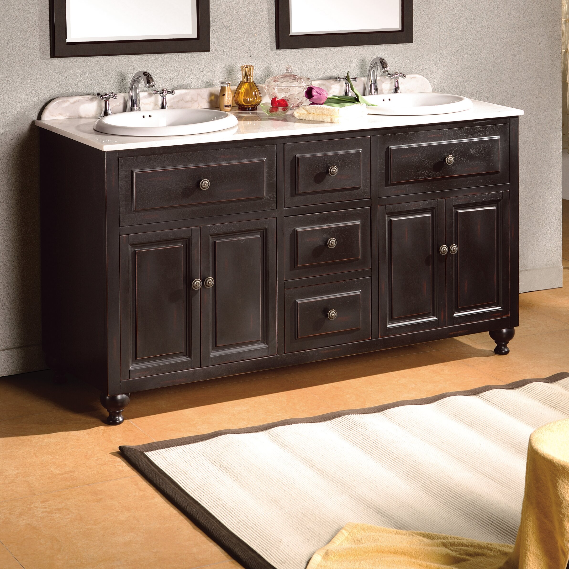 London 60 Double Bathroom Vanity Set