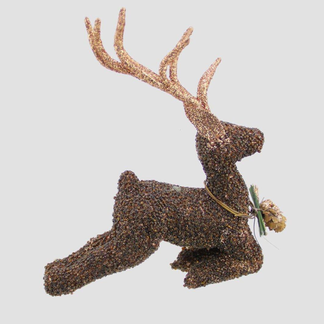 Reindeer christmas ornaments - Tori Home Metallic Beaded Reindeer Christmas Ornament