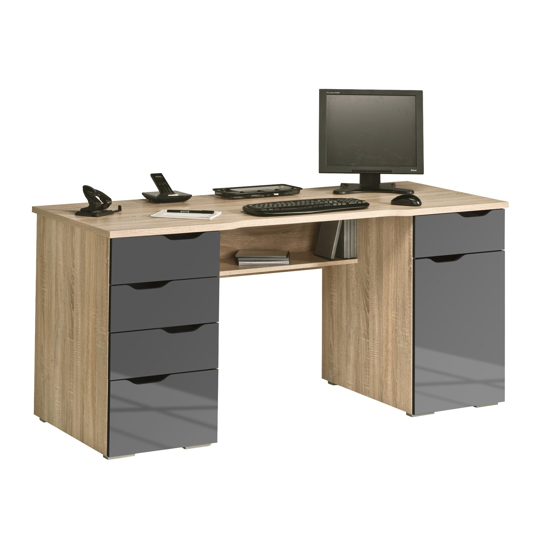 maja m bel office computer desk with drawers reviews. Black Bedroom Furniture Sets. Home Design Ideas