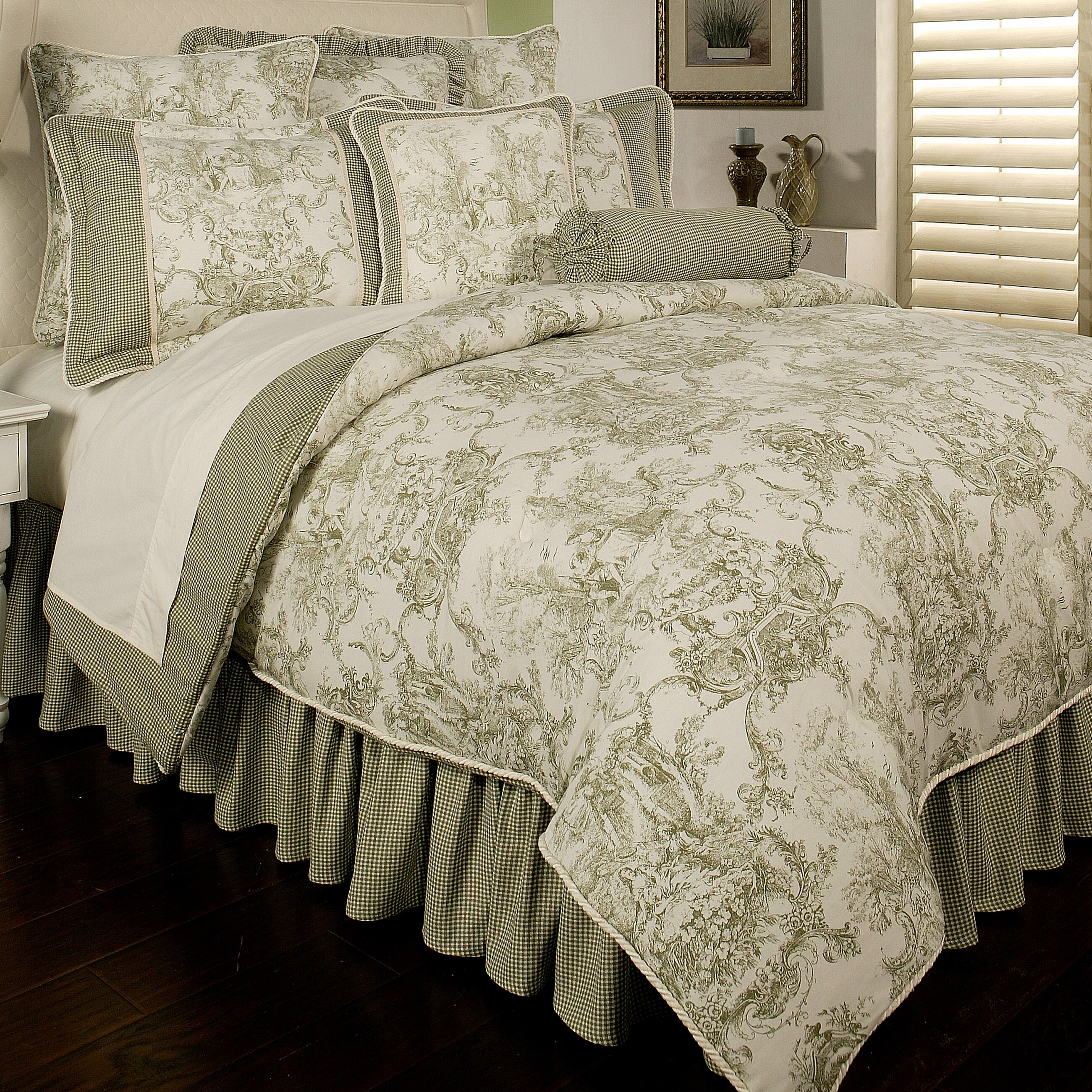 Blue and white toile bedding - Sherry Kline Country Toile 6 Piece Comforter Set