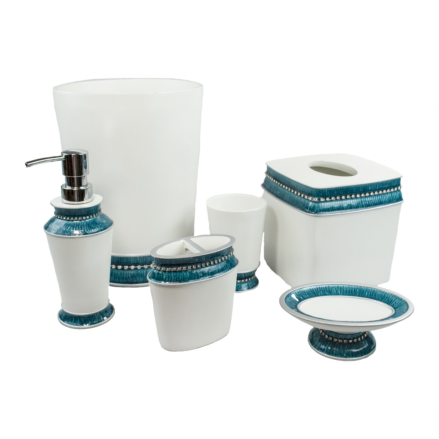 Mercury glass bathroom accessories - Sherry Kline Victoria Jewel 6 Piece Bathroom Accessory Set Sherry Kline Victoria Jewel 6 Piece