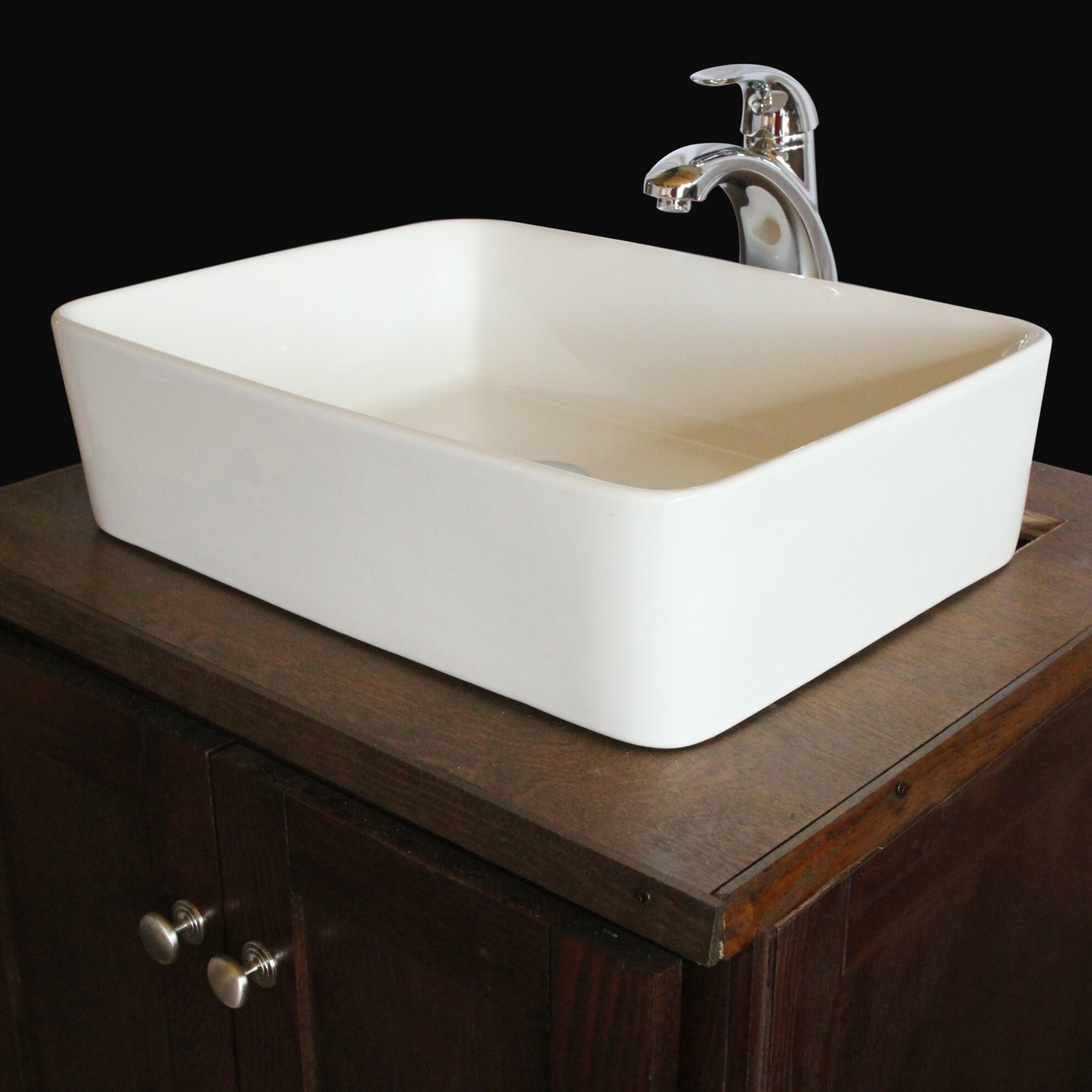 Rectangular Bathroom Sinks Ventamatic Sauberzen Vitreous China Rectangular Vessel Bathroom