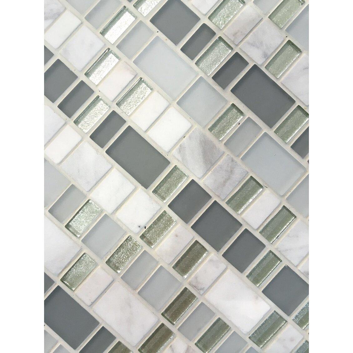 Emser tile unique 12 x 12 glass and stone blend mosaic for Unique mosaic tile