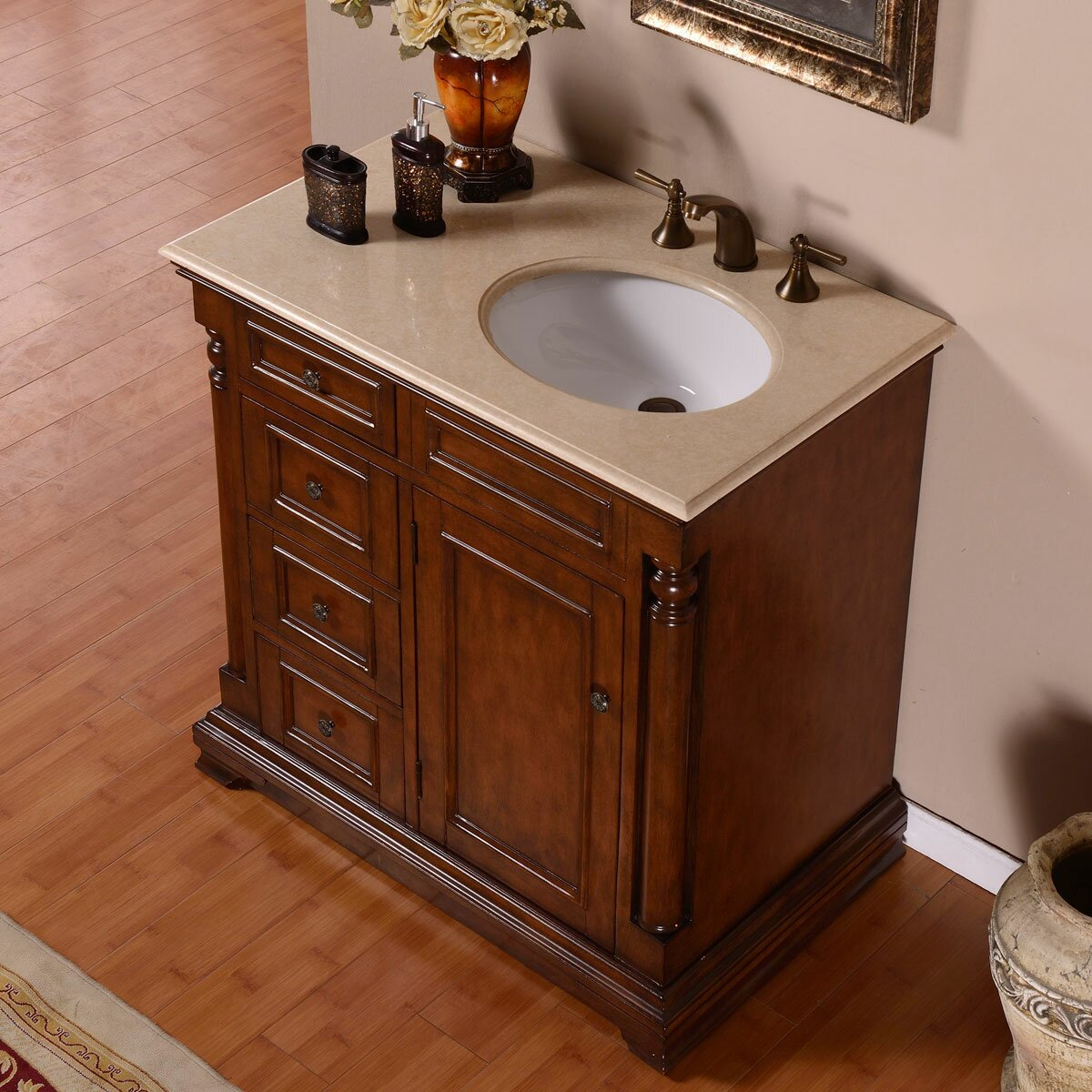 single sink bathroom vanity cabinets silkroad exclusive 36 quot single sink cabinet bathroom vanity 24120