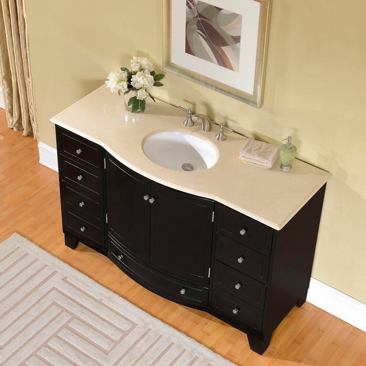 Bathroom single sink cabinets - Silkroad Exclusive 55 Quot Single Sink Cabinet Bathroom Vanity Set