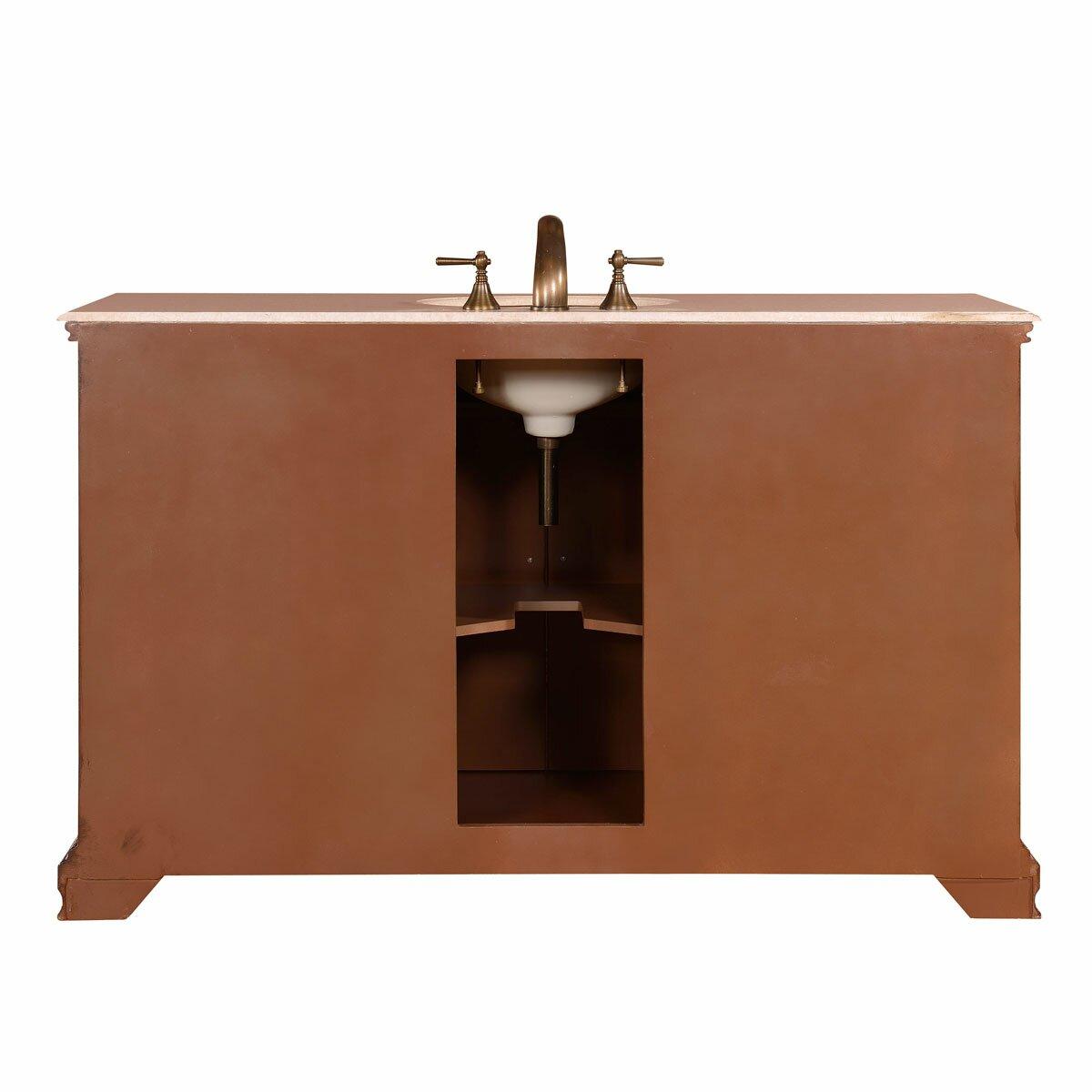 Silkroad Exclusive 58 Single Sink Cabinet Bathroom Vanity