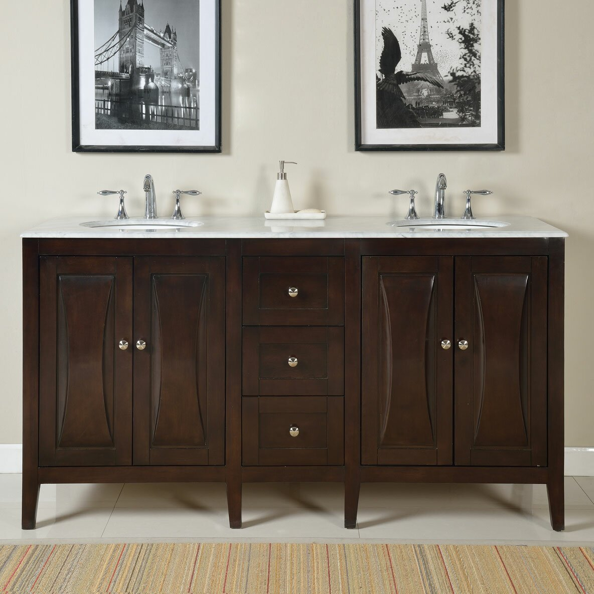 Double bathroom vanity - Silkroad Exclusive Benson 68 Quot Double Bathroom Vanity