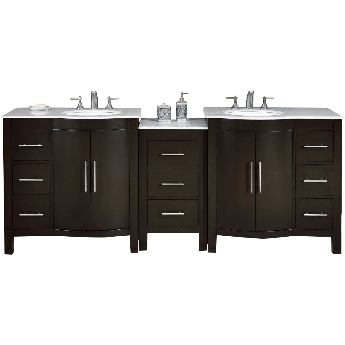 Silkroad exclusive 89 double lavatory sink cabinet bathroom vanity set reviews wayfair - Double sink bathroom vanity with hutch ...