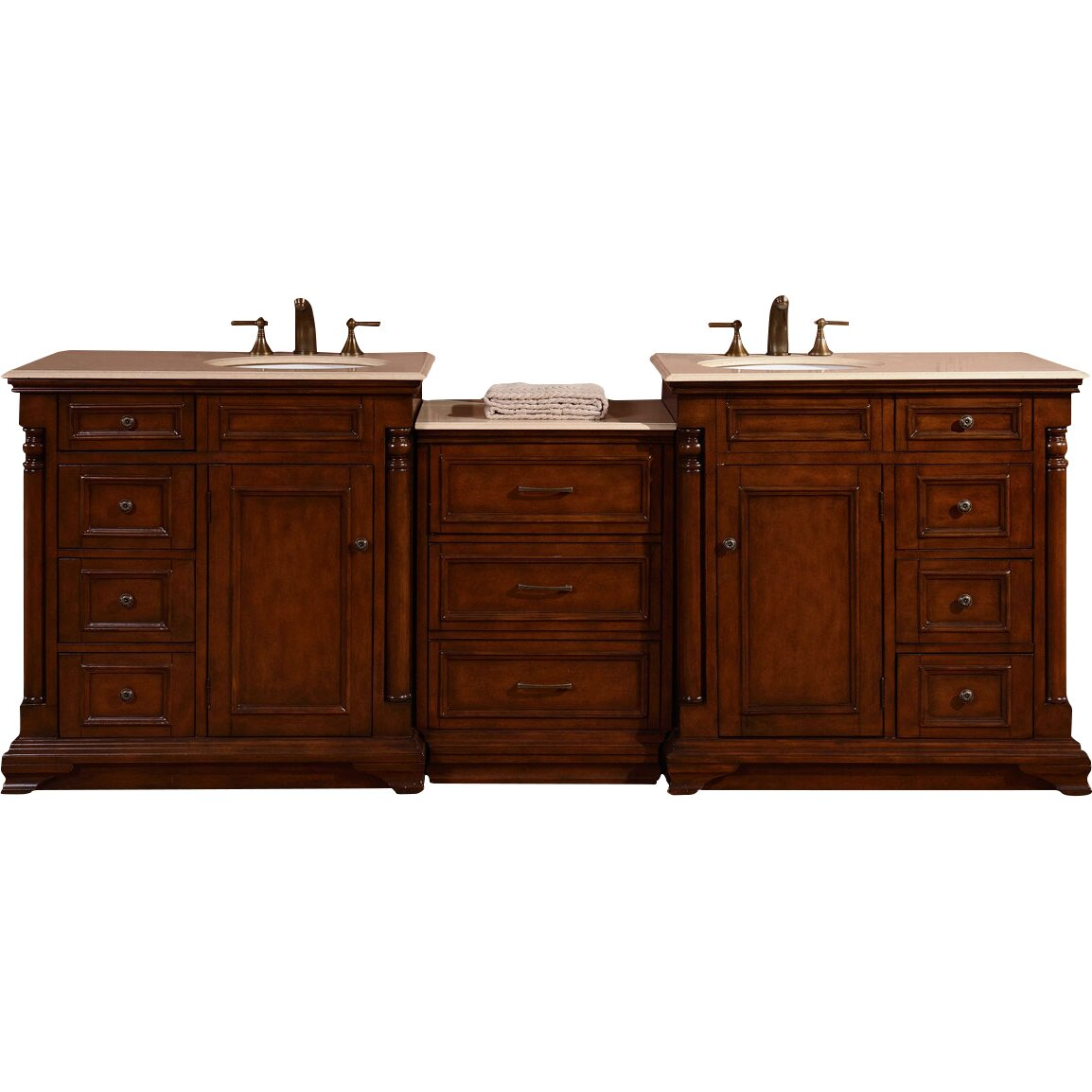 Silkroad Exclusive 92 5 Double Lavatory Sink Cabinet