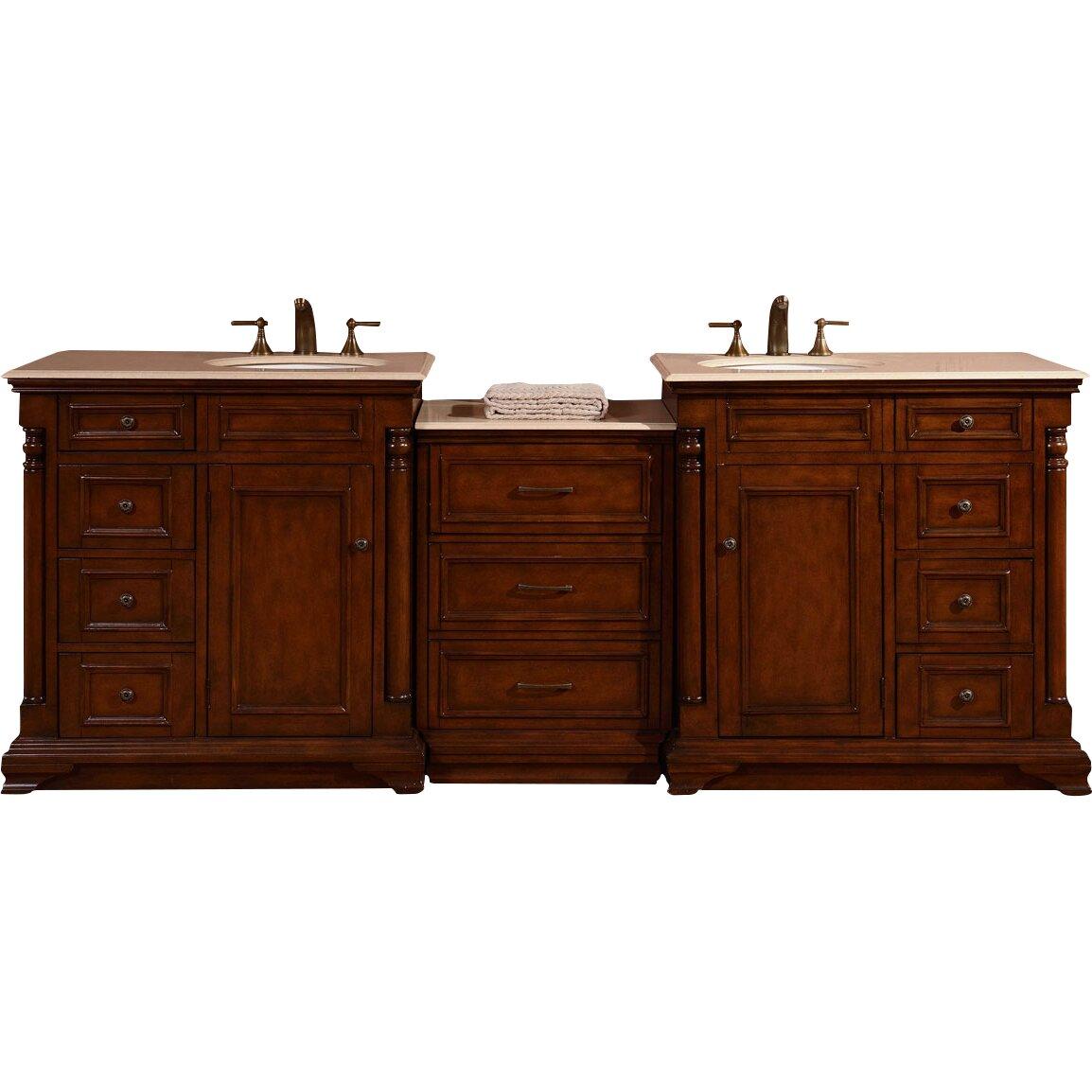 Silkroad Exclusive 92 5 Double Lavatory Sink Cabinet Bathroom Vanity Set Reviews Wayfair