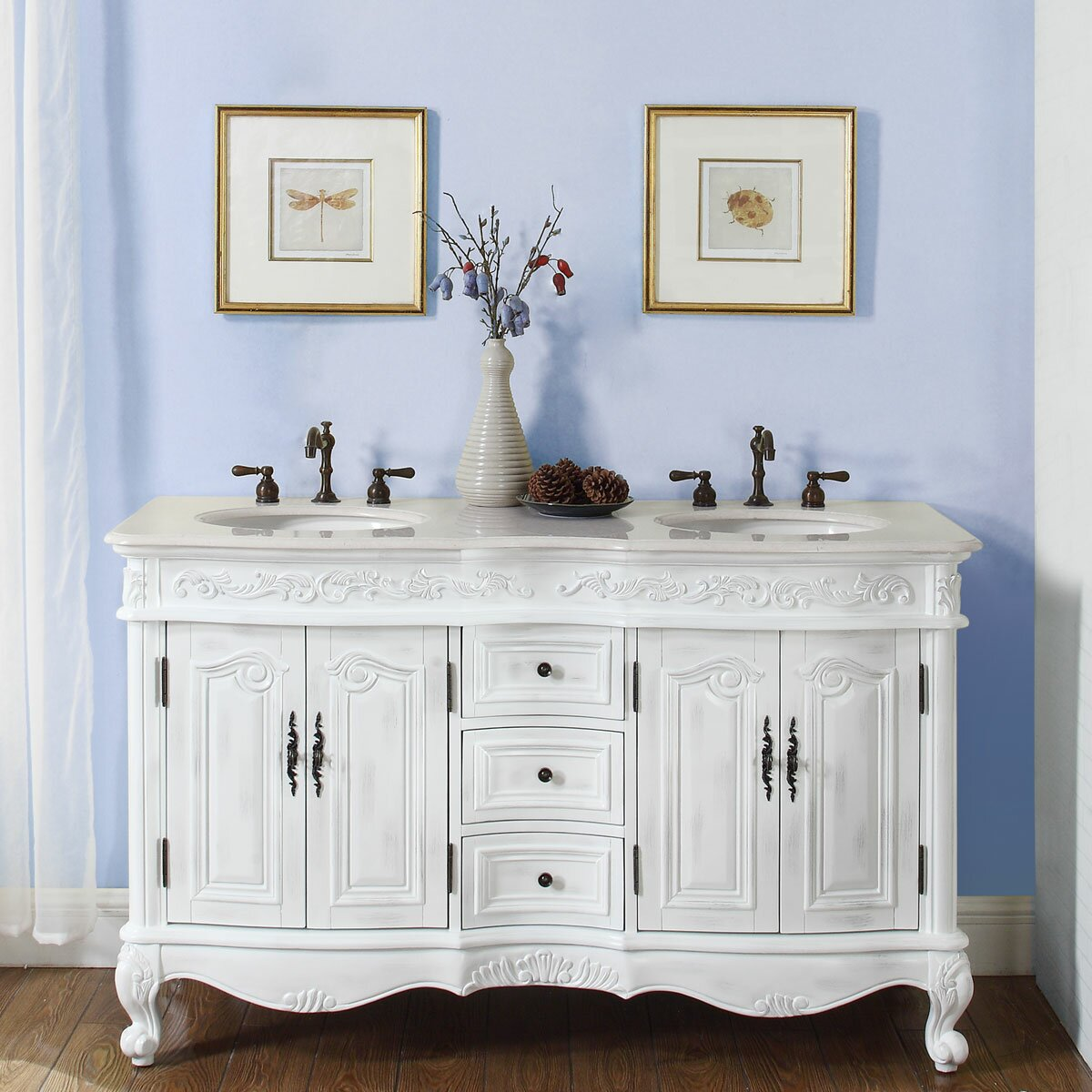 Silkroad Exclusive Andrea 58 Double Bathroom Vanity Set Reviews – 58 Bathroom Vanity