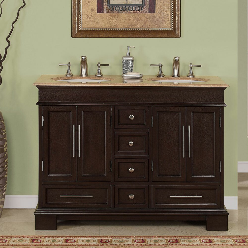 Double bathroom vanity - Silkroad Exclusive Sally 48 Quot Double Bathroom Vanity Set