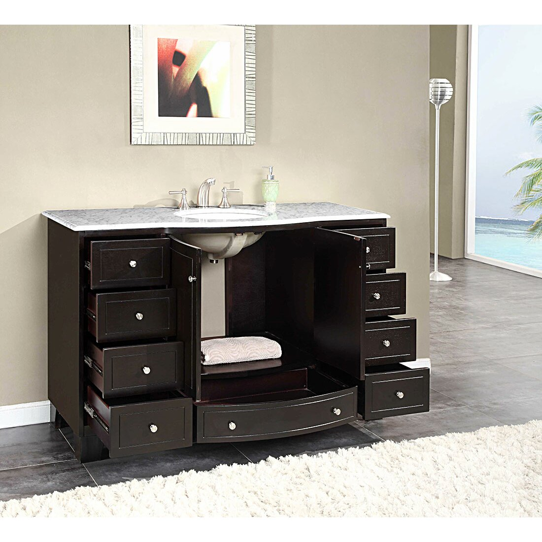 Bathroom single vanity - Silkroad Exclusive Naomi 55 Quot Single Bathroom Vanity Set