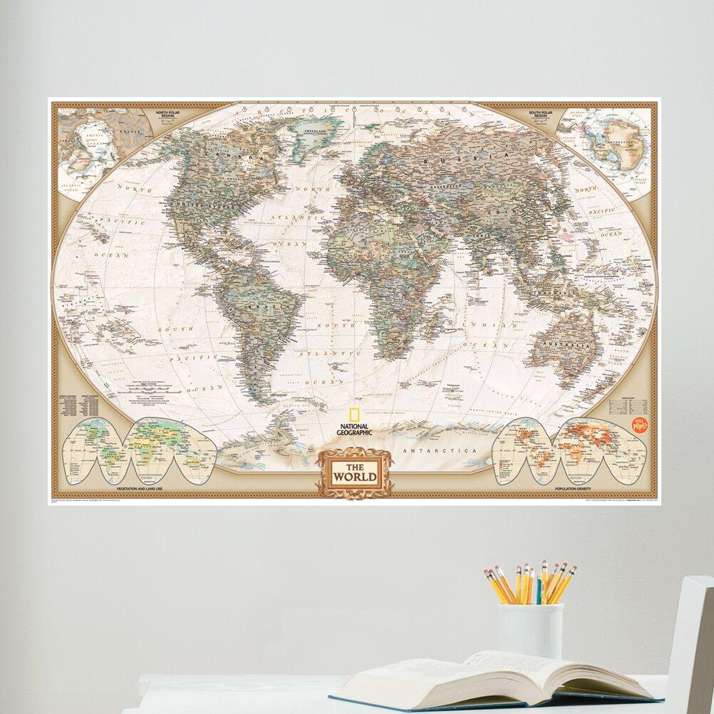 World map wall art roselawnlutheran wall art kit national geographic world map wall mural amipublicfo Gallery