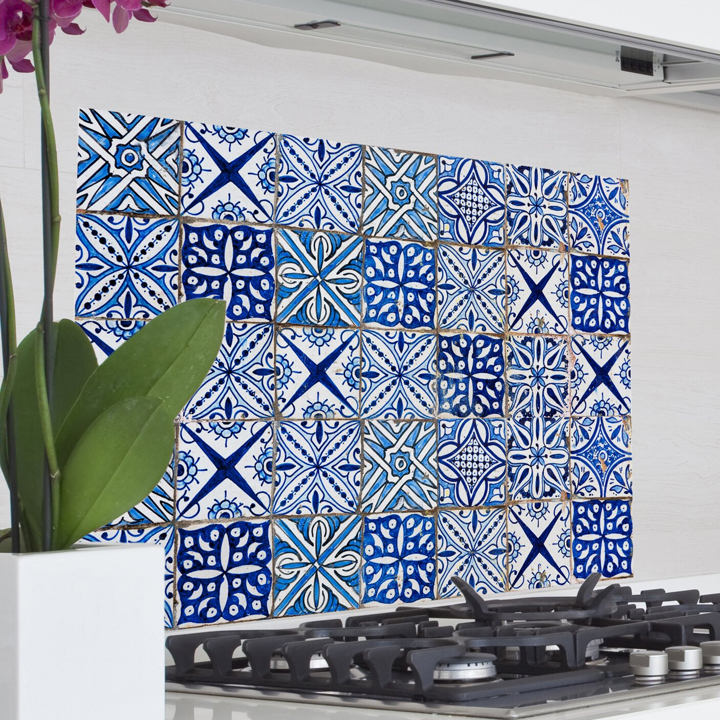 Kitchen Wall Mural Wallpops Home Decor Line Blue Azulejos Kitchen Wall Mural Wayfair