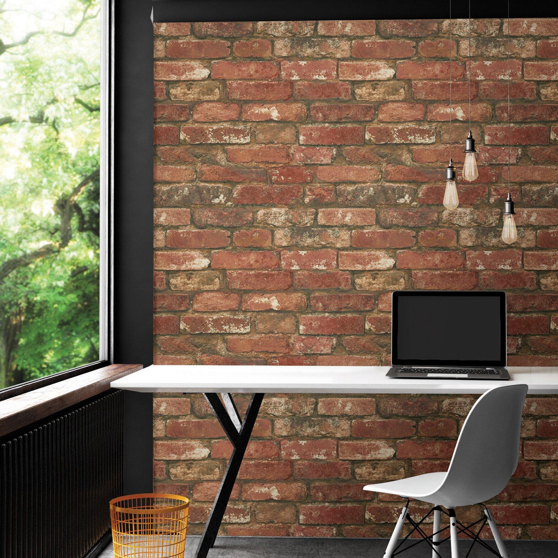 "WallPops! NuWallpaper Peel And Stick 18' X 20.5"" Brick"