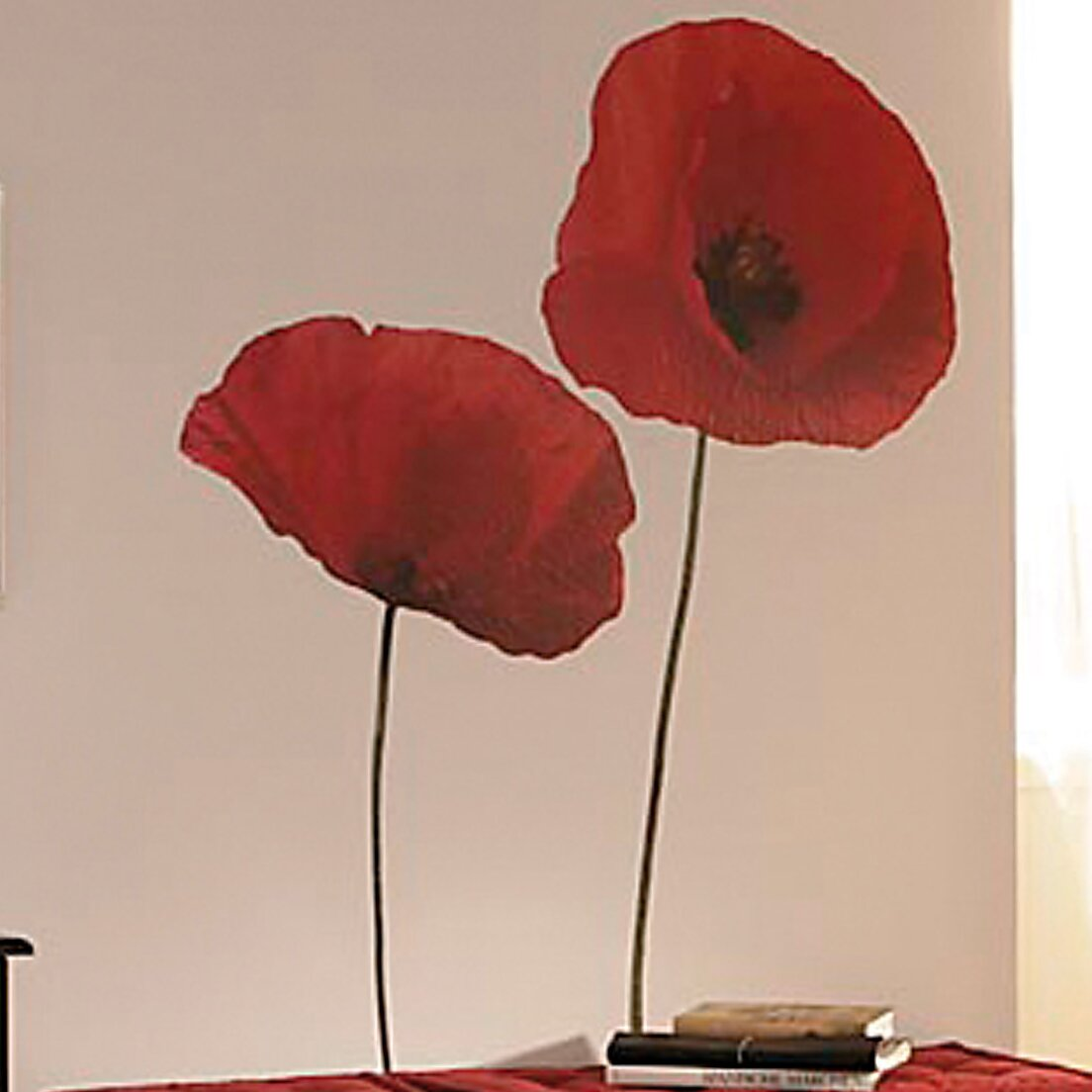 brewster home fashions euro poppies wall decal amp reviews china red poppies wall sticker fk 1168gm china wall