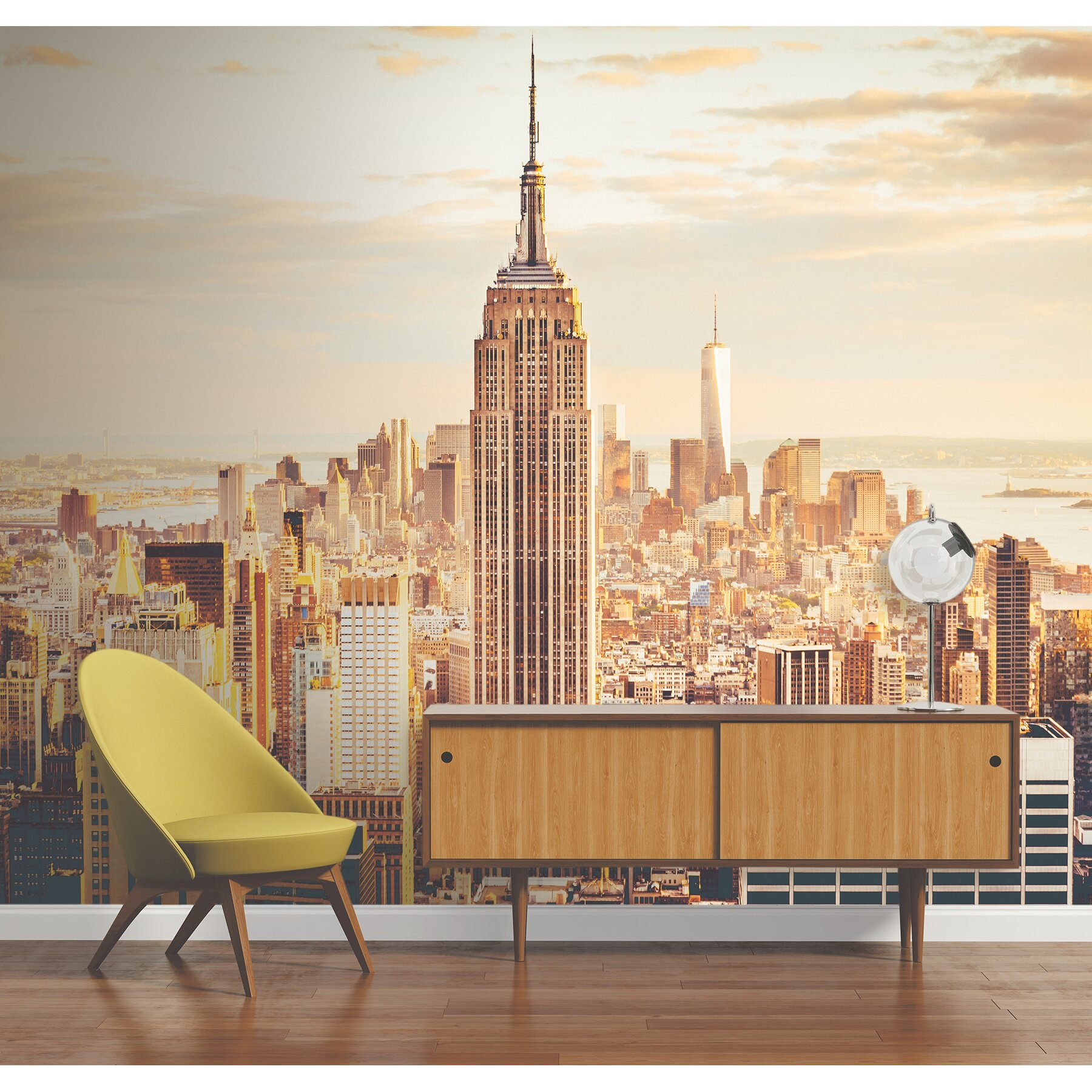 Brewster home fashions new york skyline 8 39 x 118 6 piece for Brewster birch wall mural