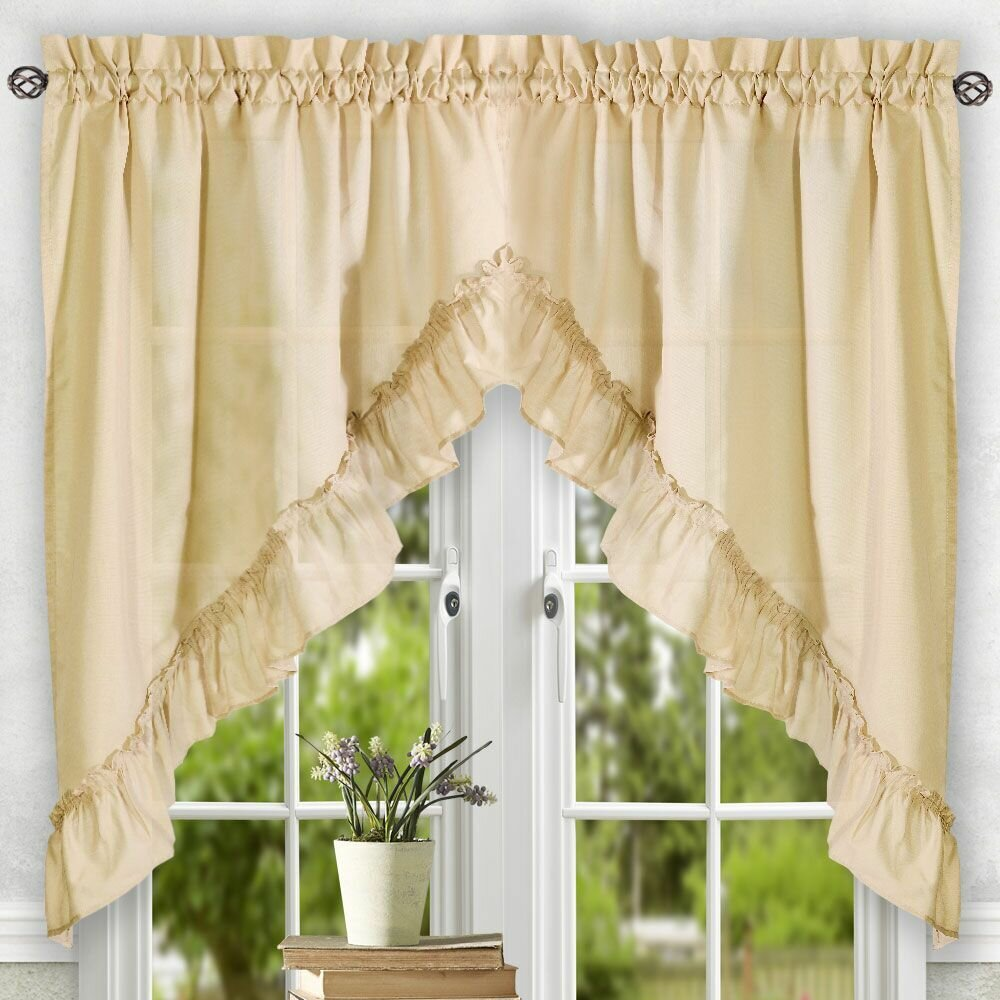 "Ellis Curtain Stacey 60"" Ruffled Swag Curtain Valance"
