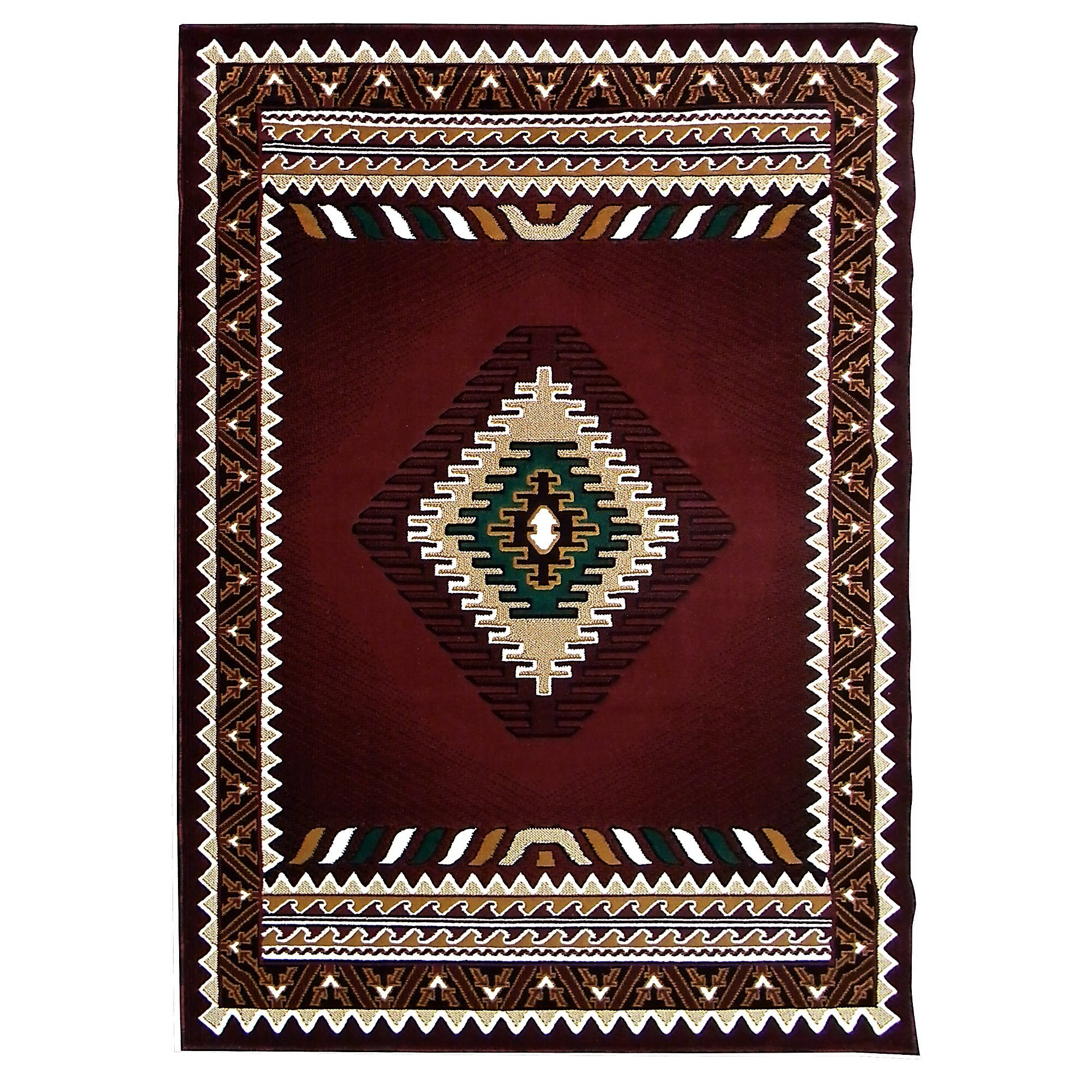 DonnieAnn Company Kingdom Burgundy Southwest Native American Area Rug