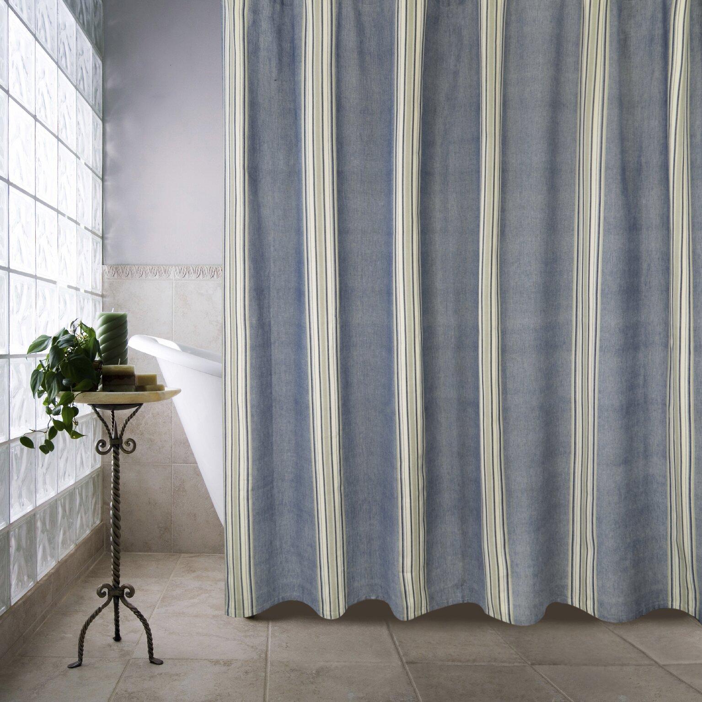 Hot pink shower curtain - Metro Farmhouse Cotton Chambray Twill Stripe Shower Curtain Hot Pink And Brown Shower Curtain