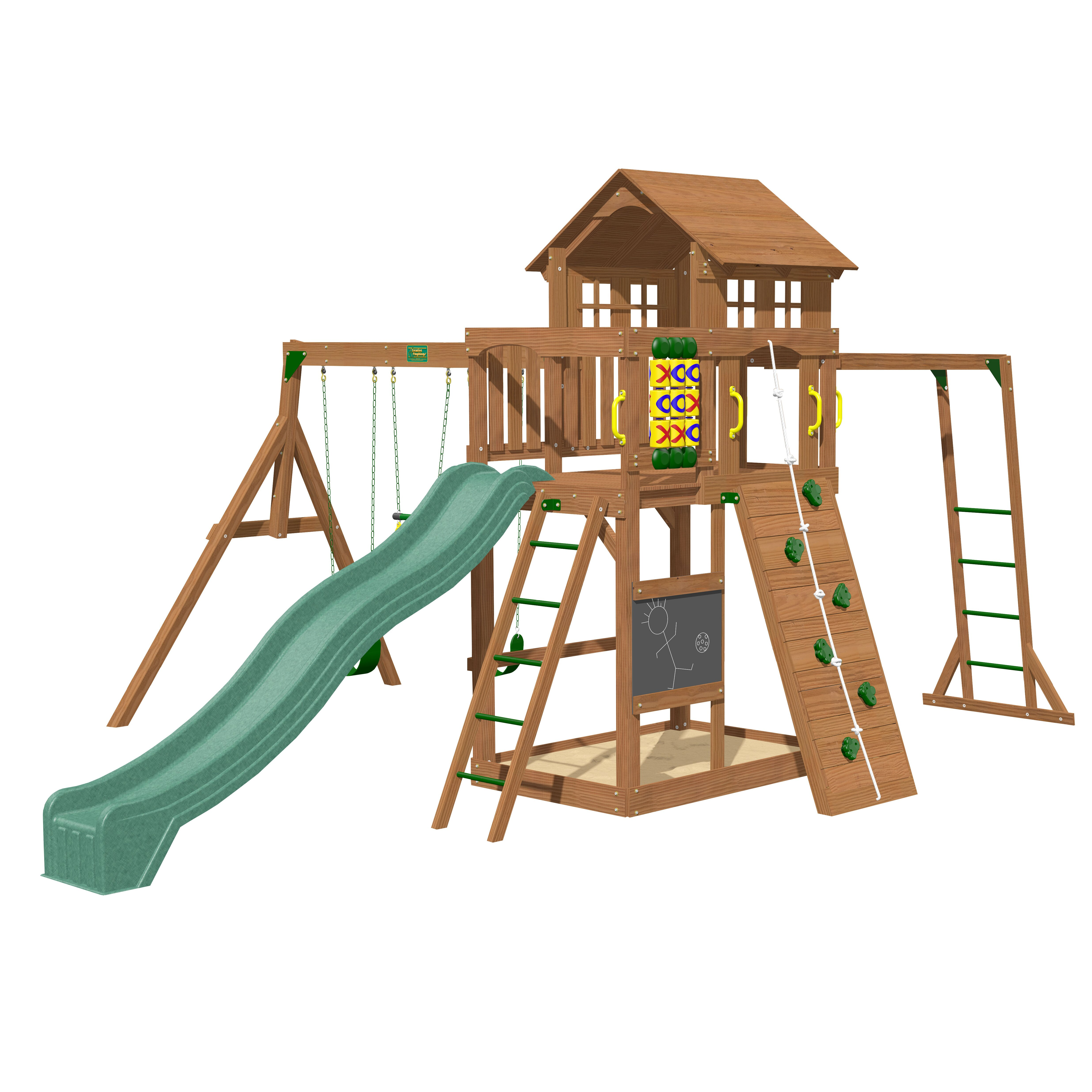 creative playthings cypress wooden swing set reviews. Black Bedroom Furniture Sets. Home Design Ideas