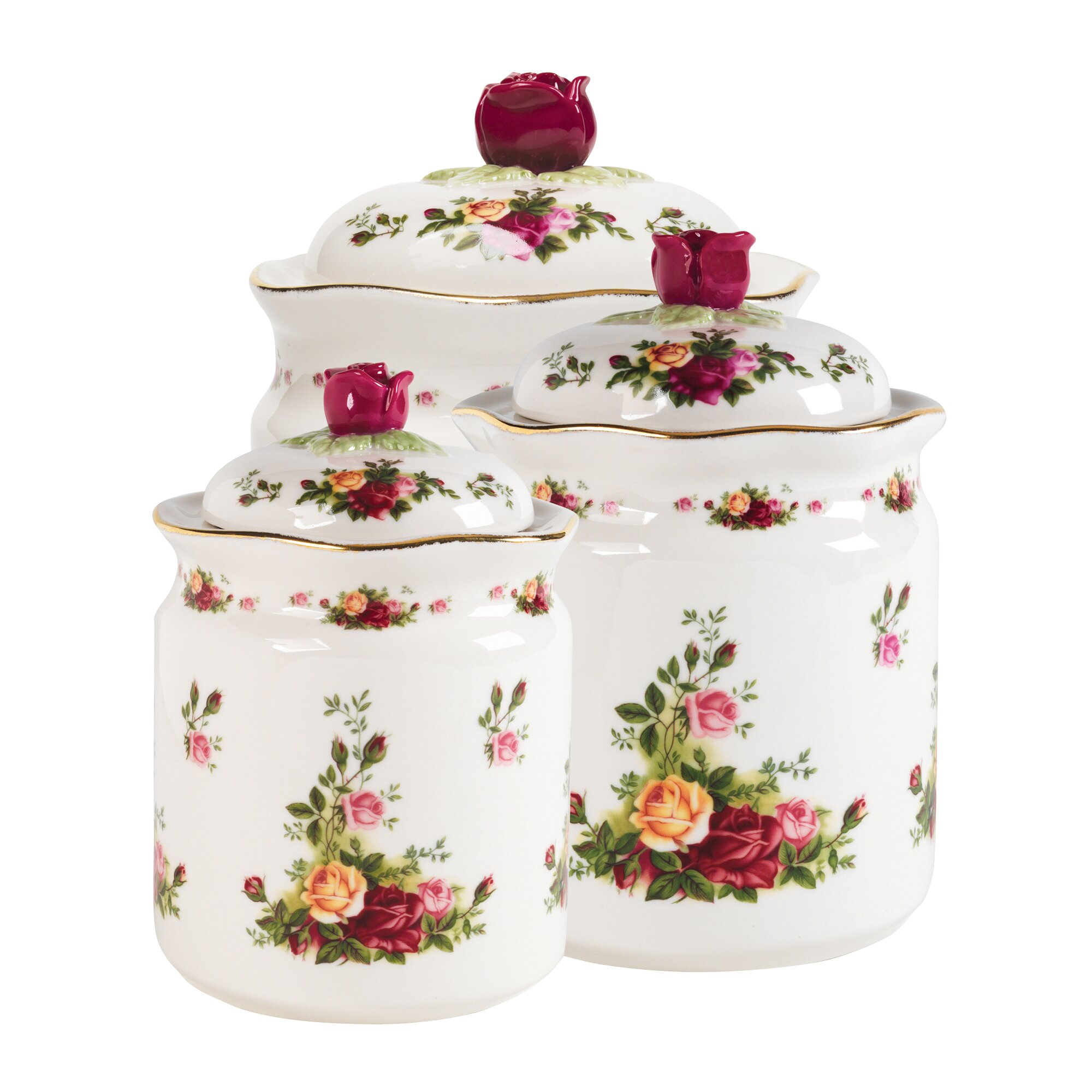 Country canister sets for kitchen - Royal Albert Old Country Roses 3 Piece Kitchen Canister Set