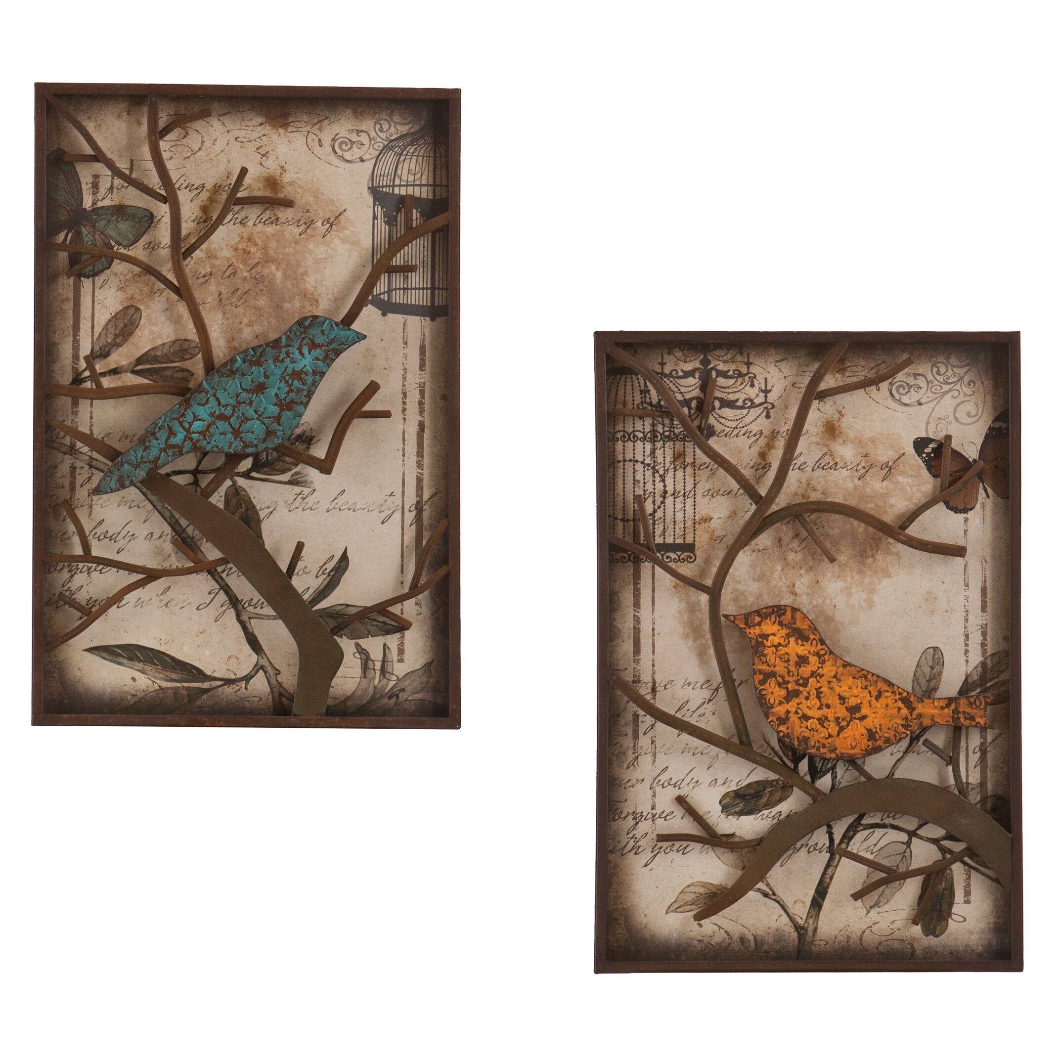 Wildon Home u0026reg; 2 Piece Merrick Vintage Bird Wall Du0026eacute ...