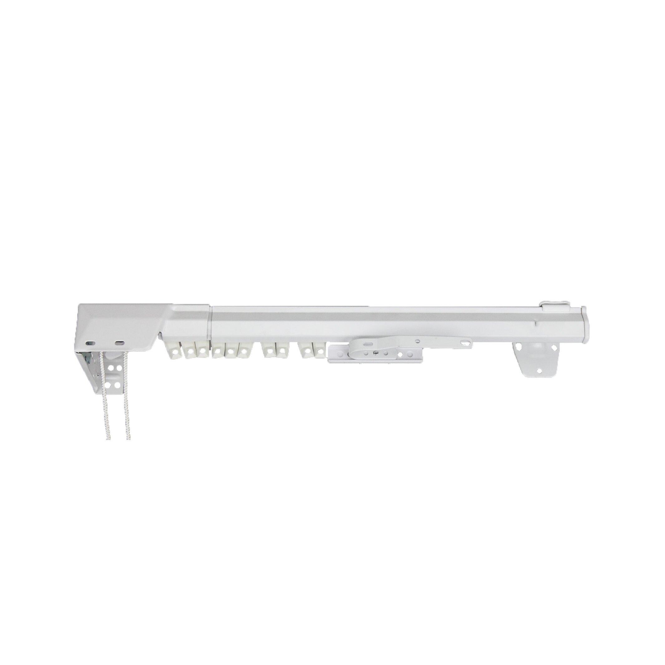 Back tab curtains on traverse rod - Rod Desyne White Traverse Heavy Duty Single Curtain Rod And Hardware Set