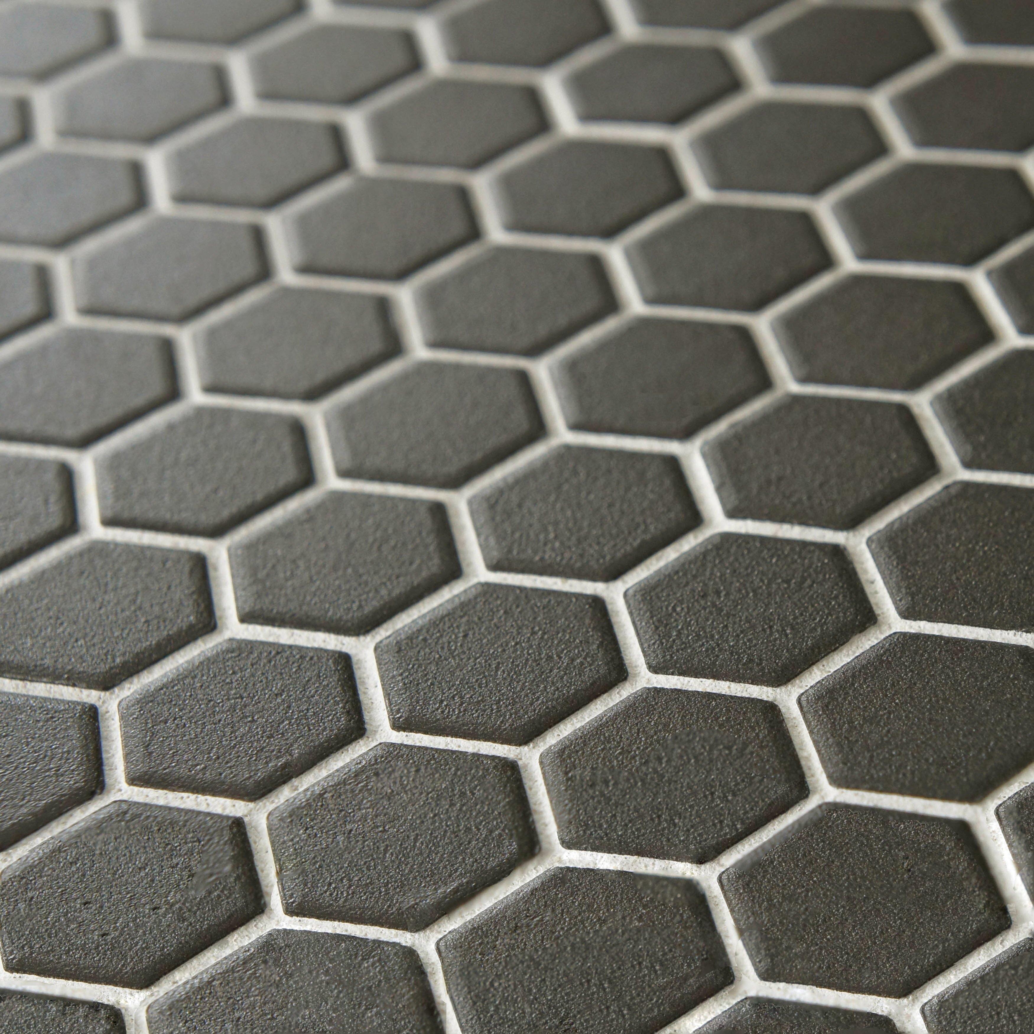 EliteTile New York Hexagon 10.25 x 12 Porcelain Unglazed Mosaic  Tile ...