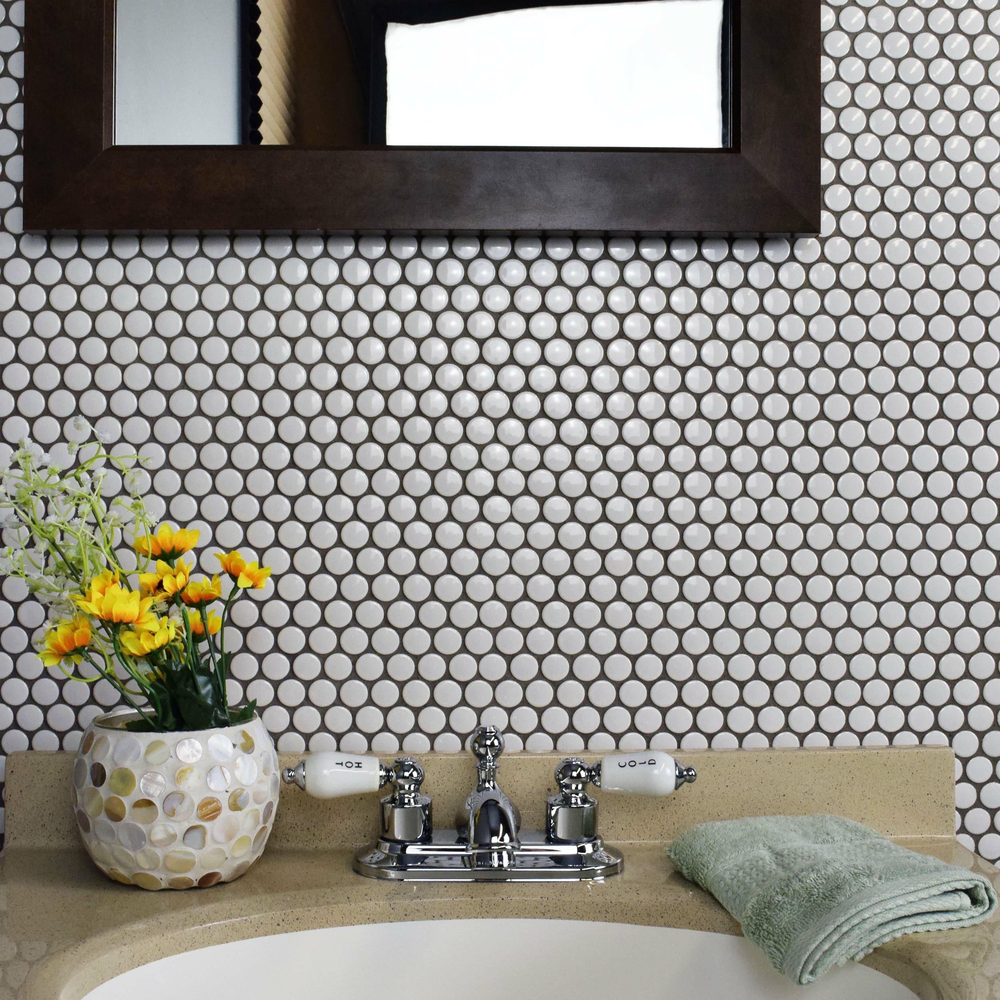 """Penny Round Tile Backsplash: EliteTile Retro .75"""" X .75"""" Penny Round Porcelain Mosaic"""