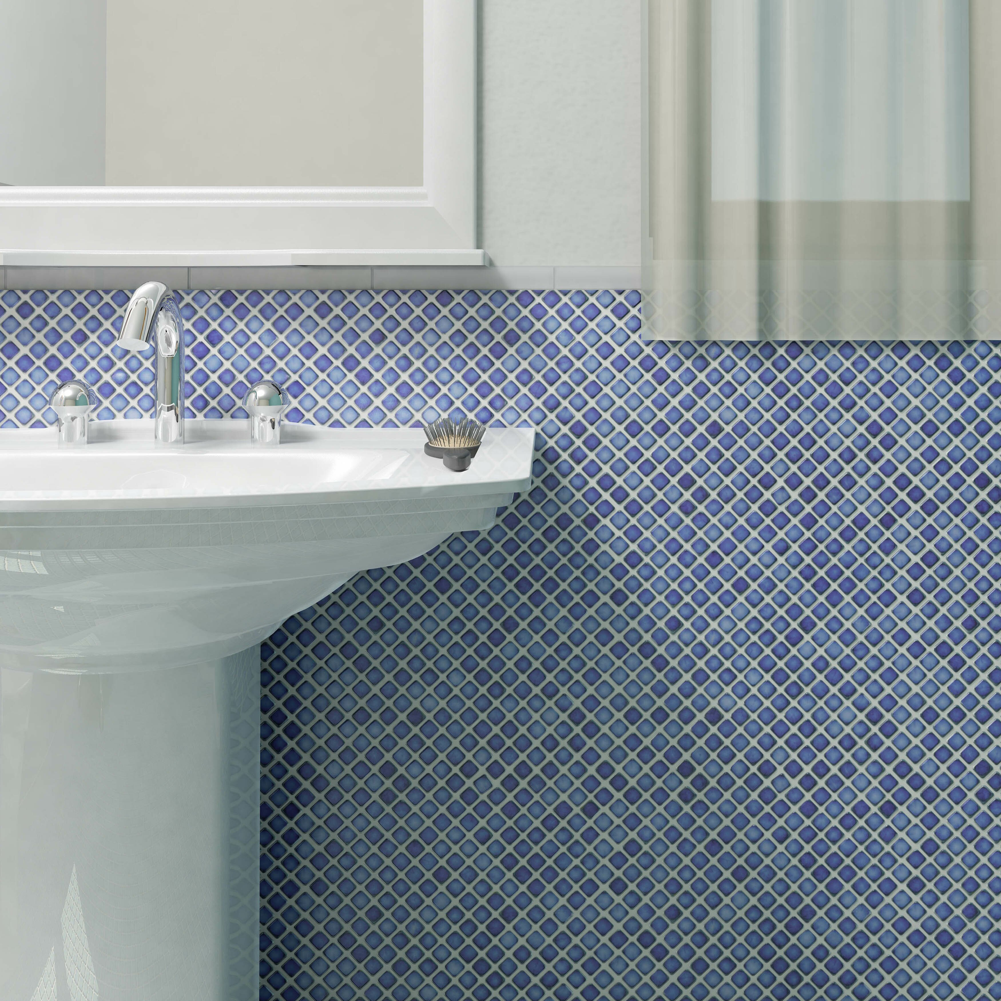 Nice Small Corner Mirror Bathroom Cabinet Big Painting Bathroom Vanity Pinterest Square Retro Pink Tile Bathroom Ideas Install A Bath Spout Old Flush Mount Bathroom Light With Fan ColouredWestern Rustic Bathroom Lighting EliteTile Gem 0.71\u0026quot; X 0.71\u0026quot; Porcelain Mosaic Tile In Glossy ..