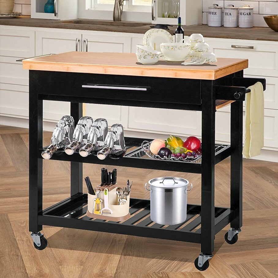 Kitchen Wood Top: Merax Kitchen Island With Wood Top & Reviews