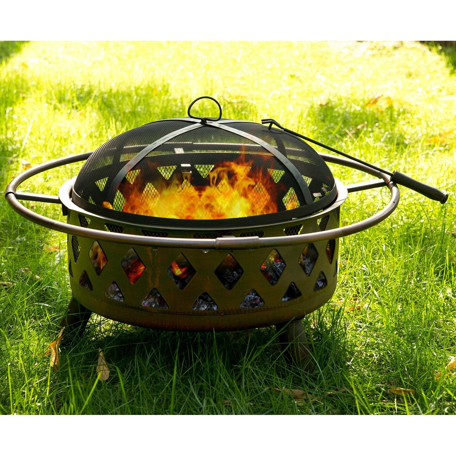 Merax Patio Outdoor Cast Iron Bowl Fire Pit Fire Bowl ...