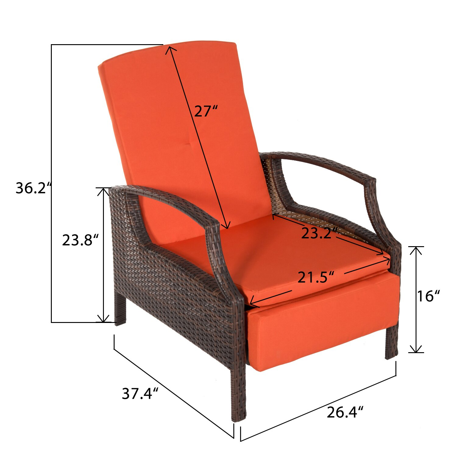 merax adjustable wicker patio reclining lounge chair with cu