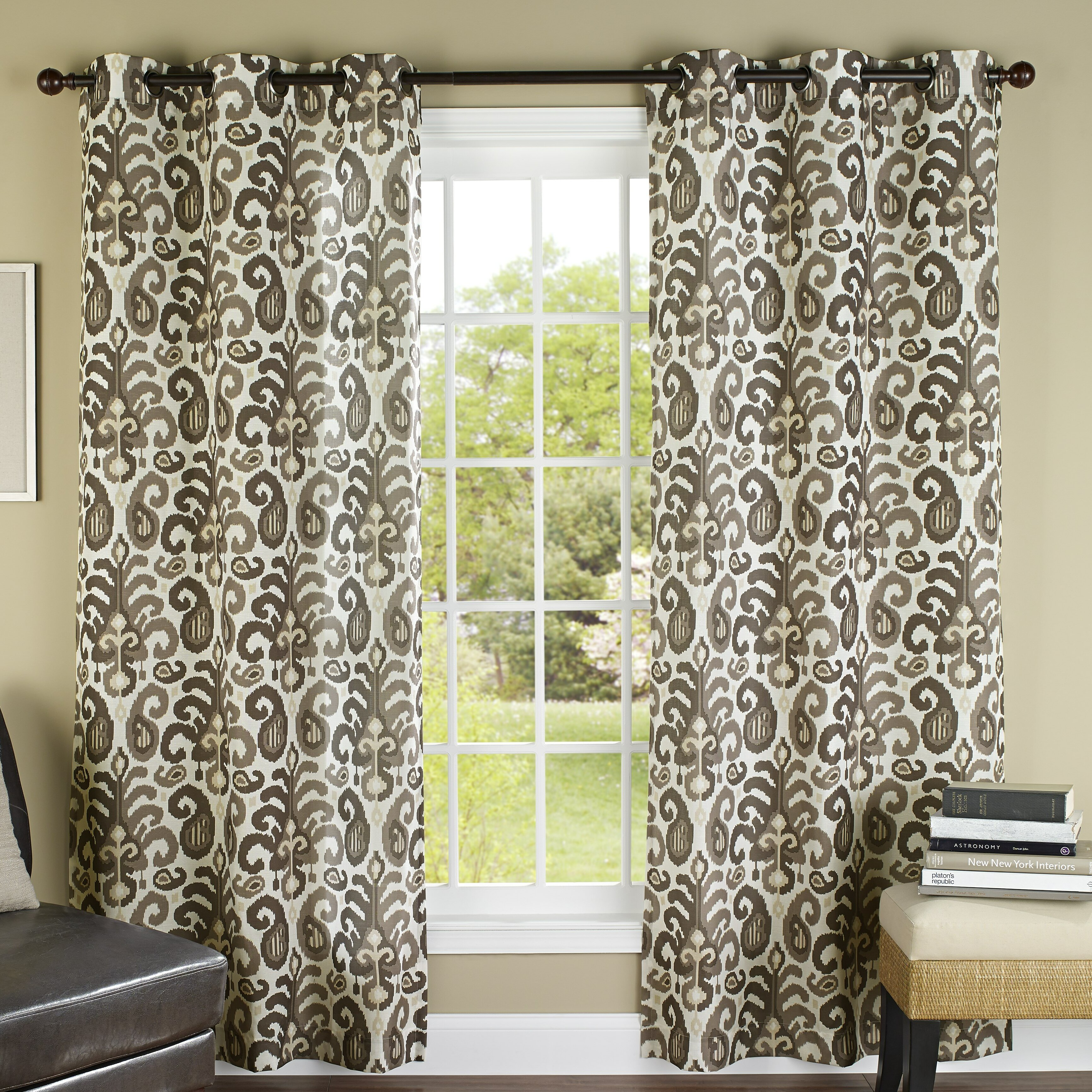 Ikat curtain panels - M Style Ikat Plume Grommet Curtain Panels