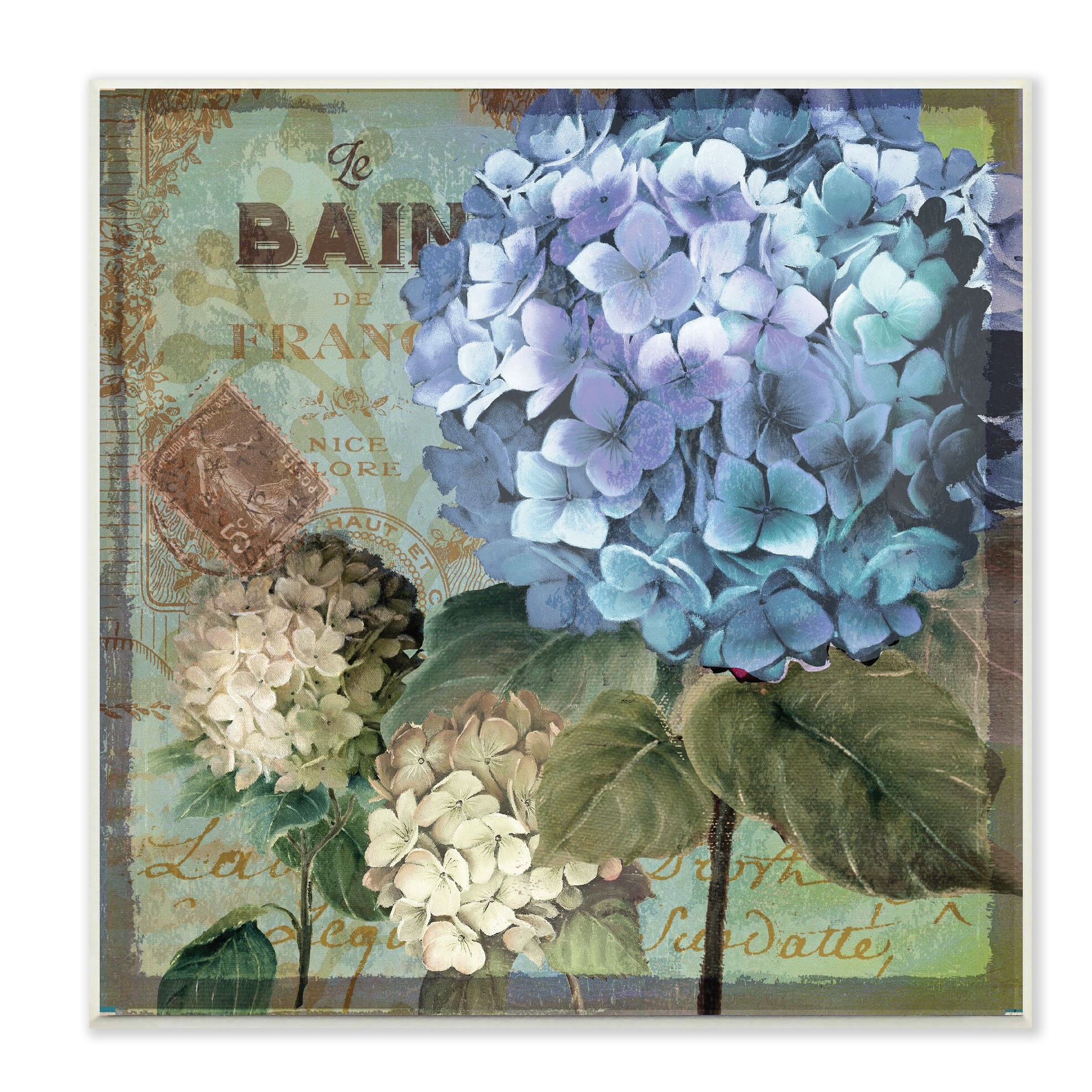 colorful hydrangeas with antique french backdrop textual art wall plaque