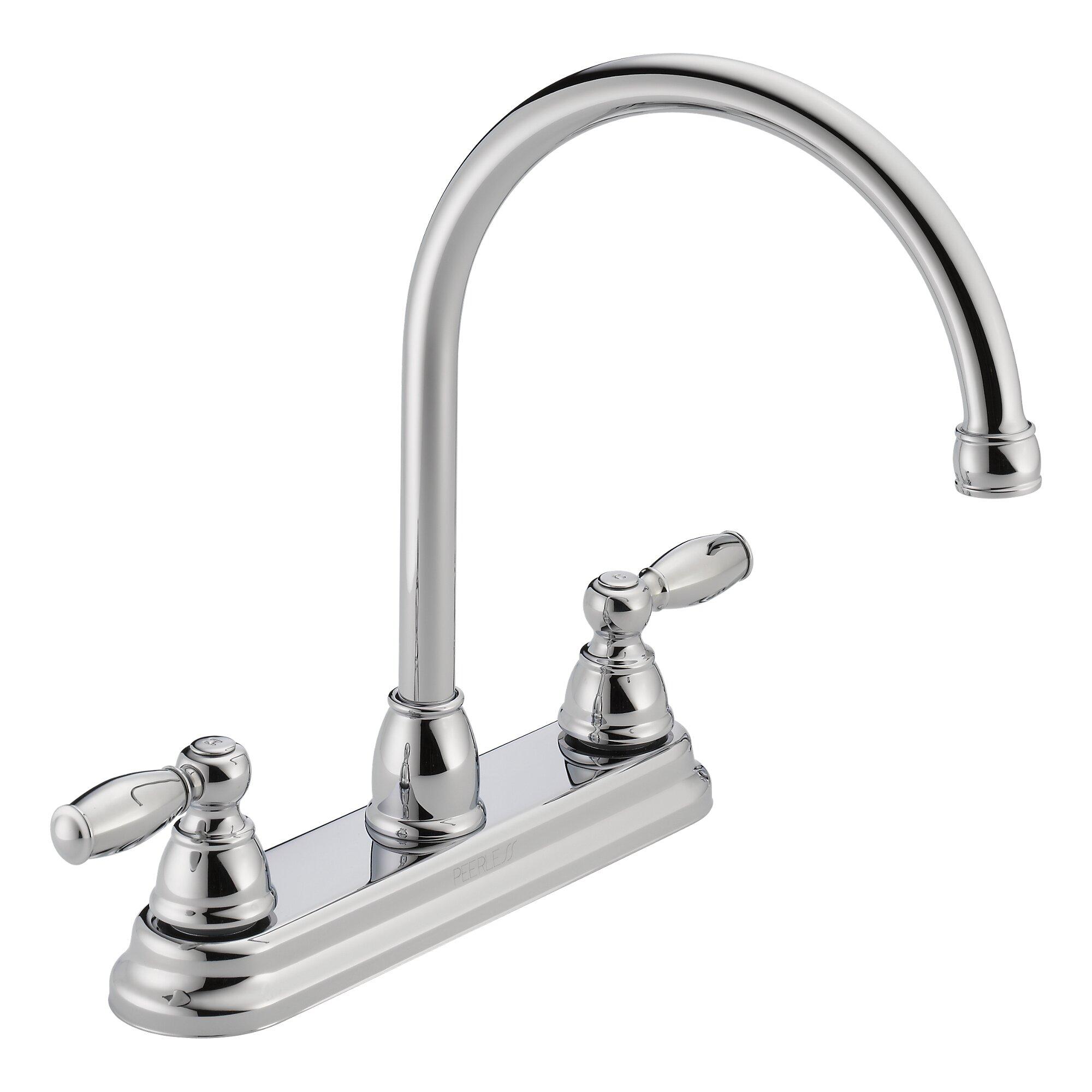 Double Handle Kitchen Faucet Peerless Faucets Apex Double Handle Kitchen Faucet Wayfair