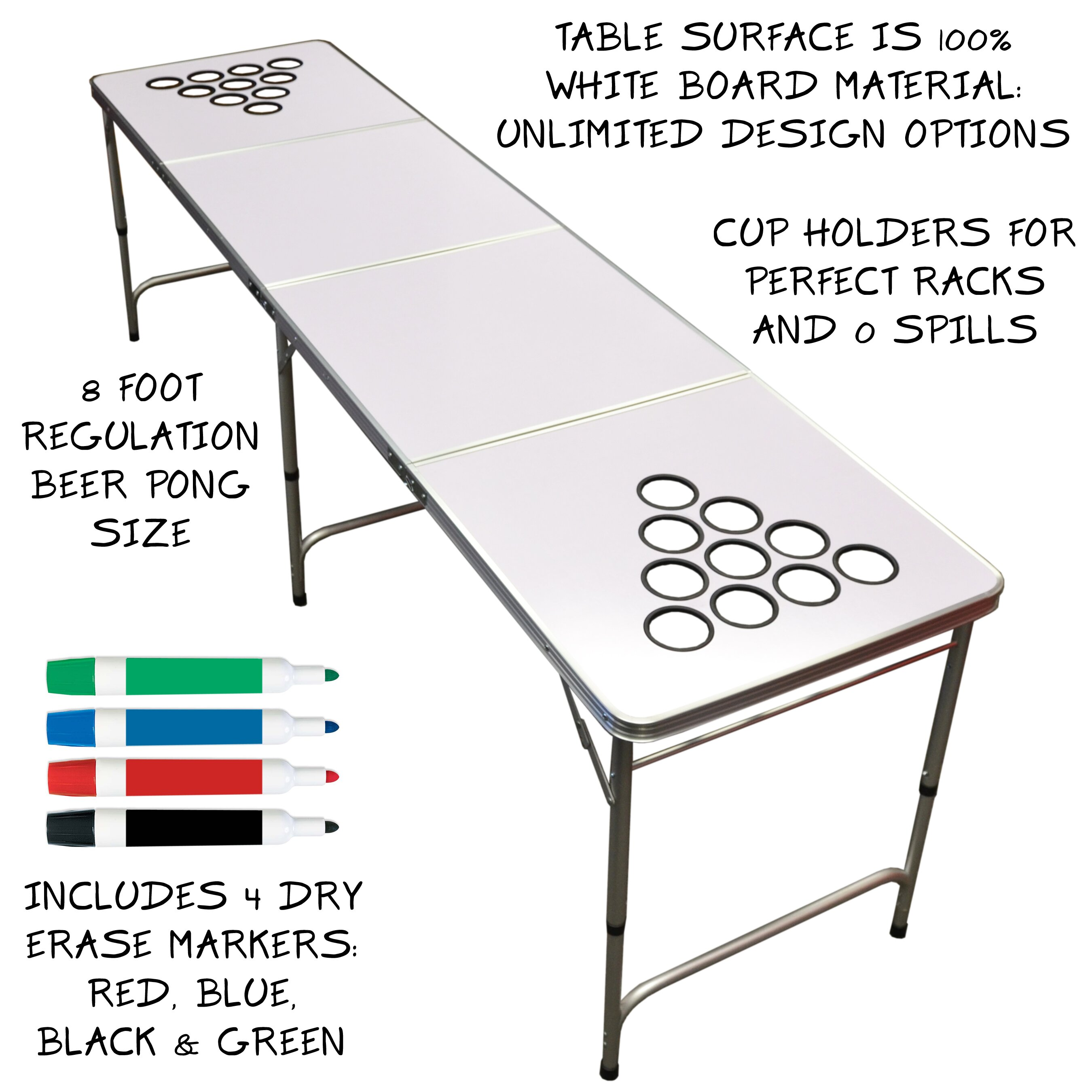 Beer pong table dimensions - Gopong 10 Piece Dry Erase Beer Pong Set