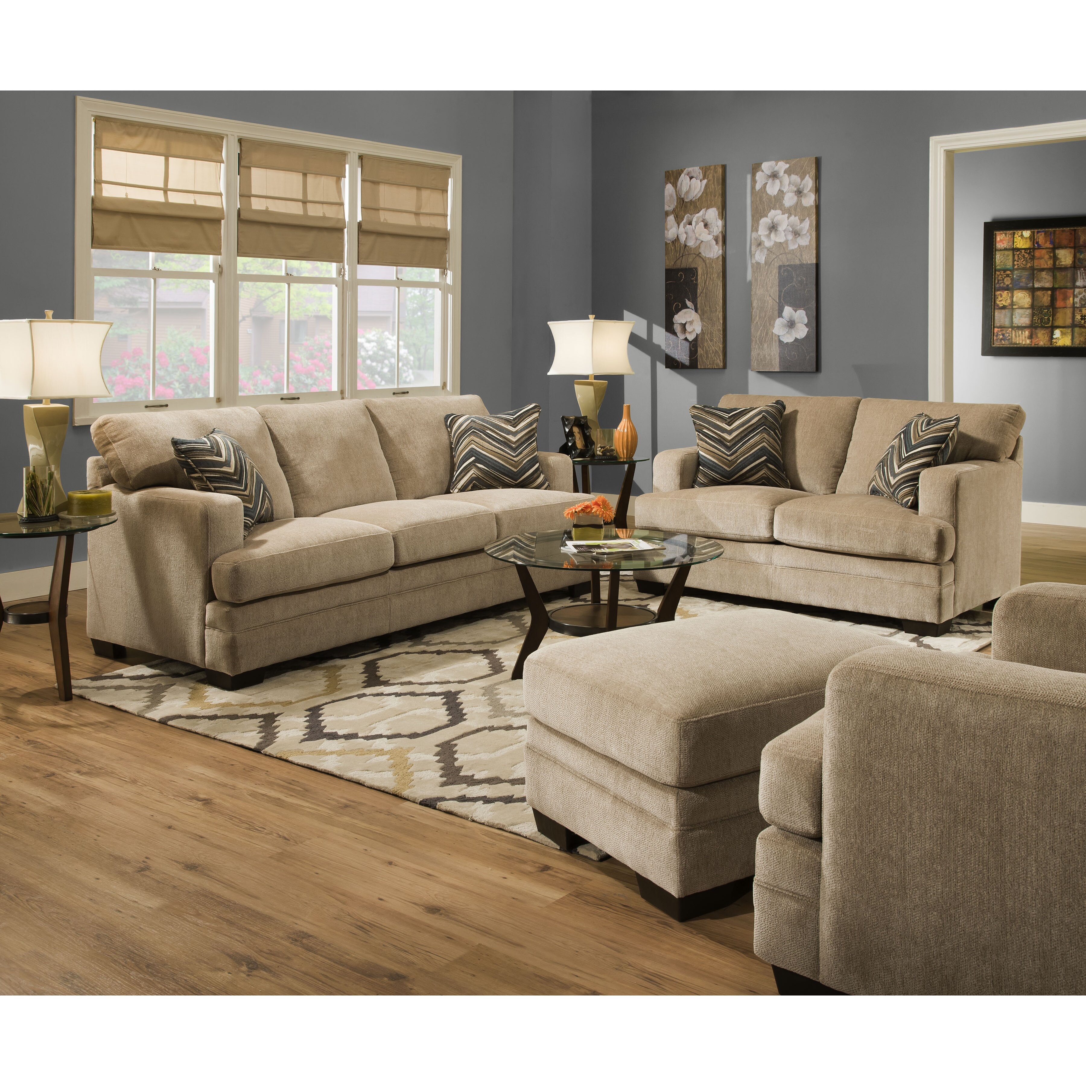 Simmons Upholstery Soho Espresso Living Room Set 9515 By Simmons